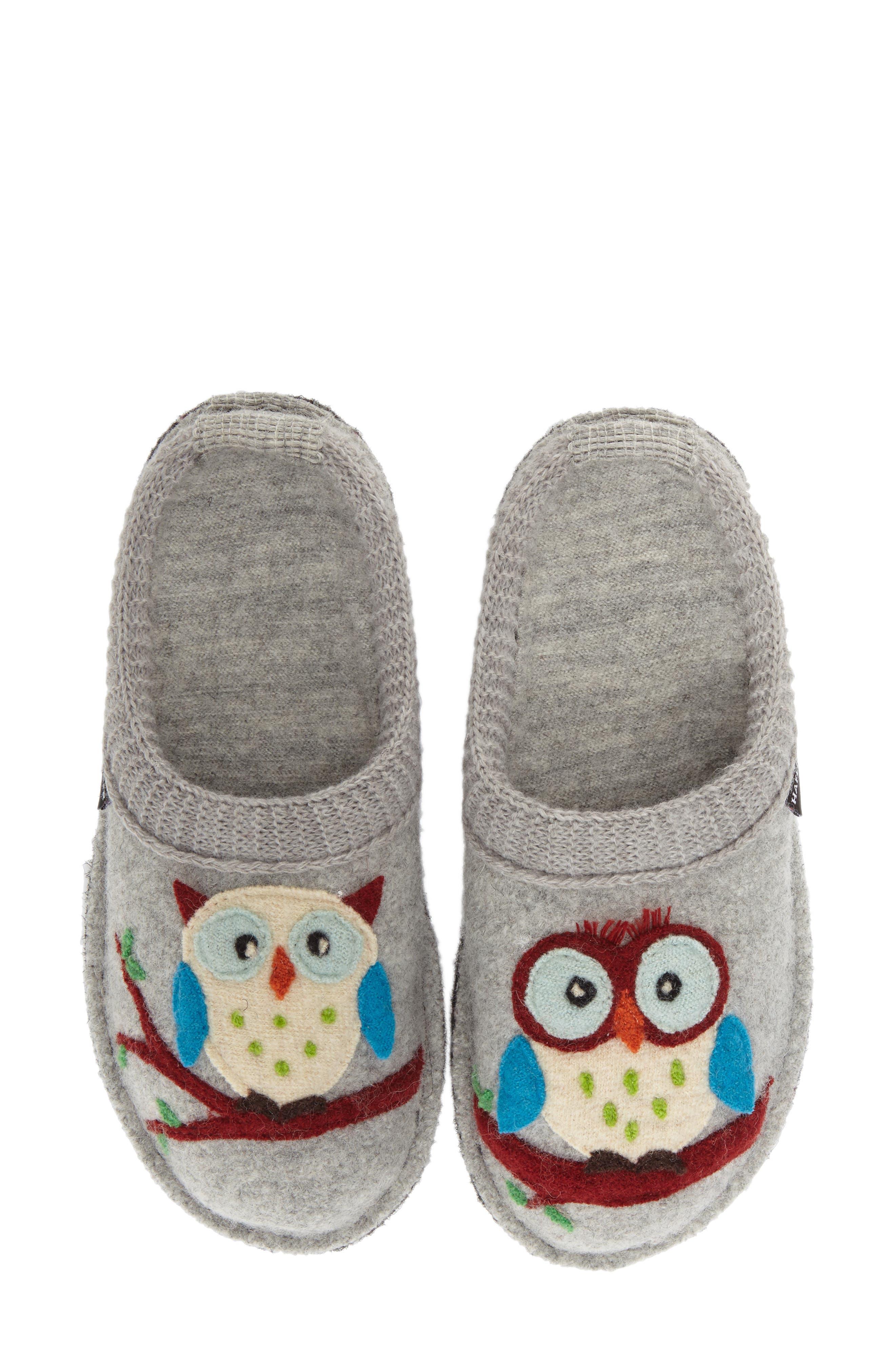 'Olivia' Owl Slipper,                             Main thumbnail 1, color,                             STONE WOOL
