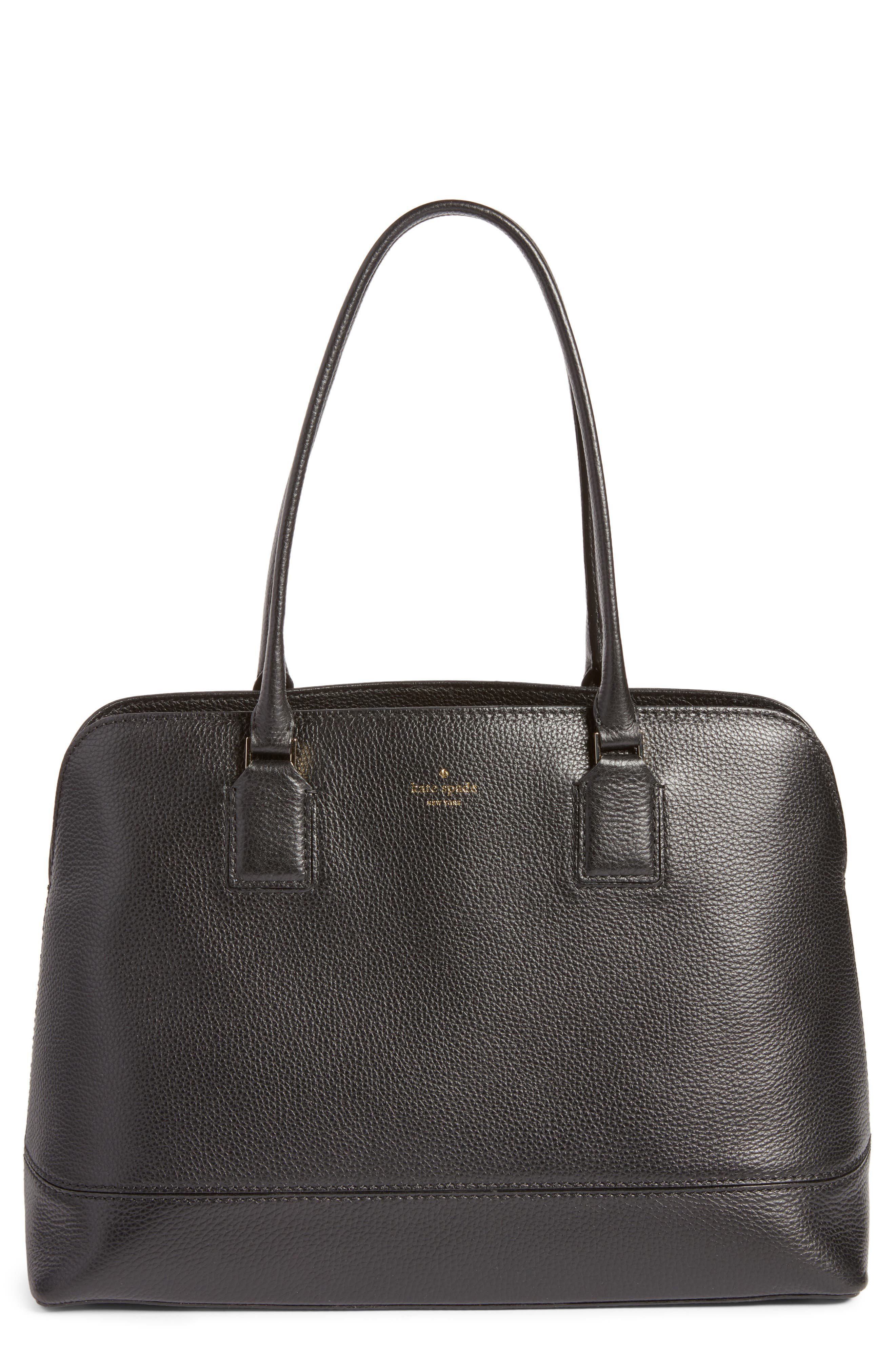 young lane - marybeth leather tote with removable laptop sleeve,                         Main,                         color, 001