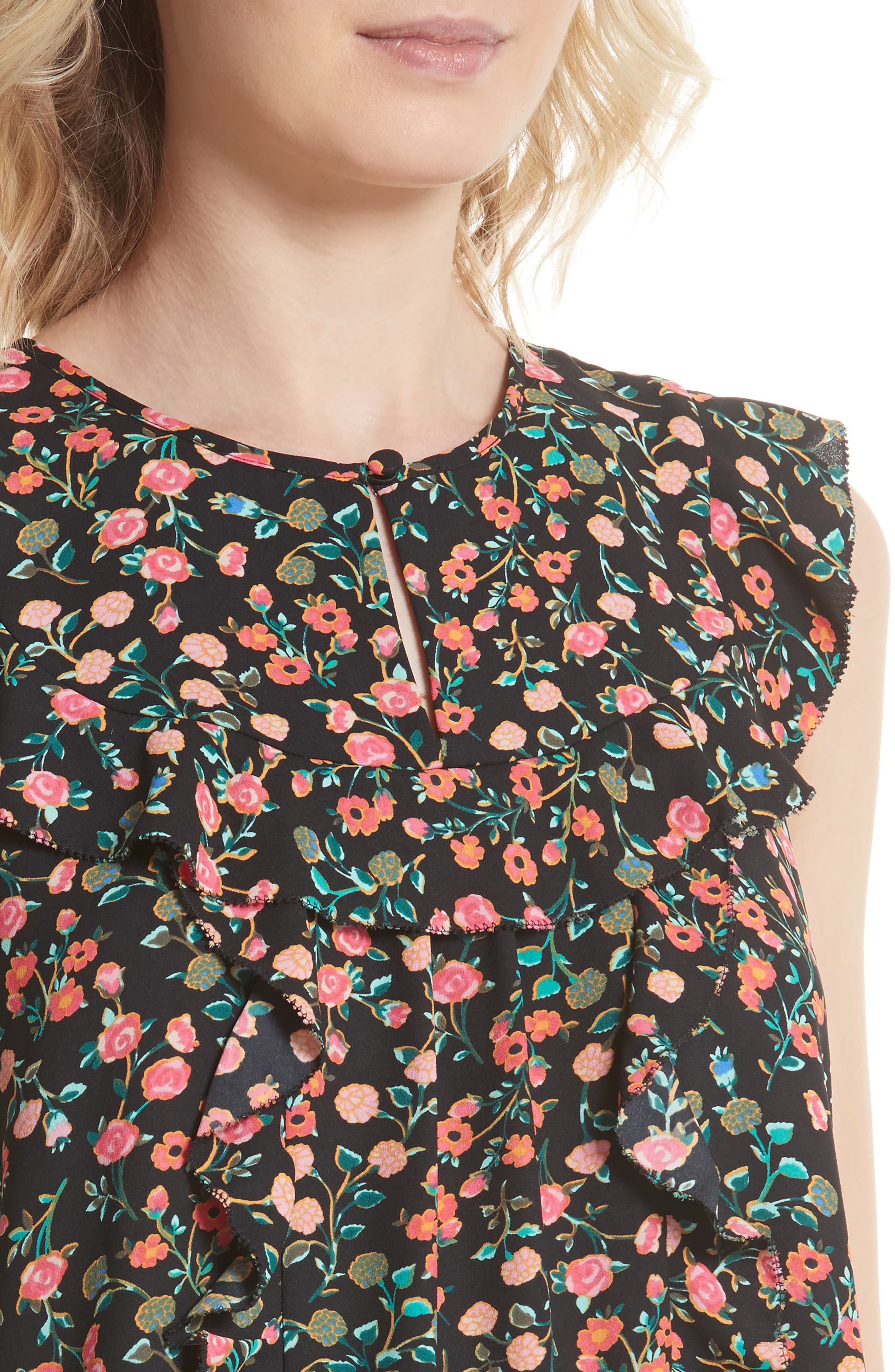 mini bloom ruffled shell,                             Alternate thumbnail 4, color,                             001