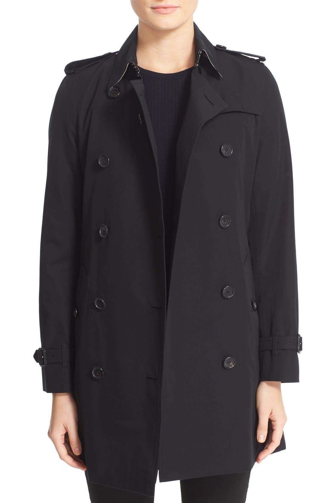 Kensington Mid Trench Coat,                             Main thumbnail 1, color,                             BLACK