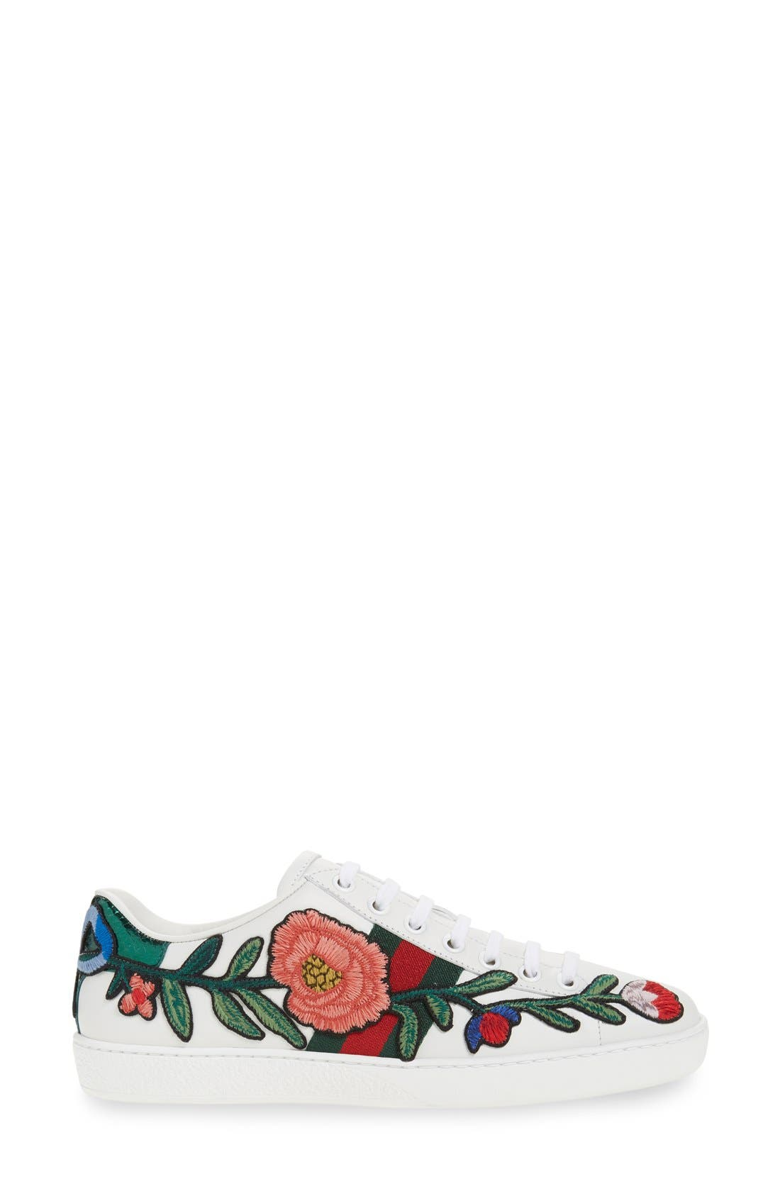 'New Ace' Low Top Sneaker,                             Alternate thumbnail 4, color,                             WHITE FLORAL