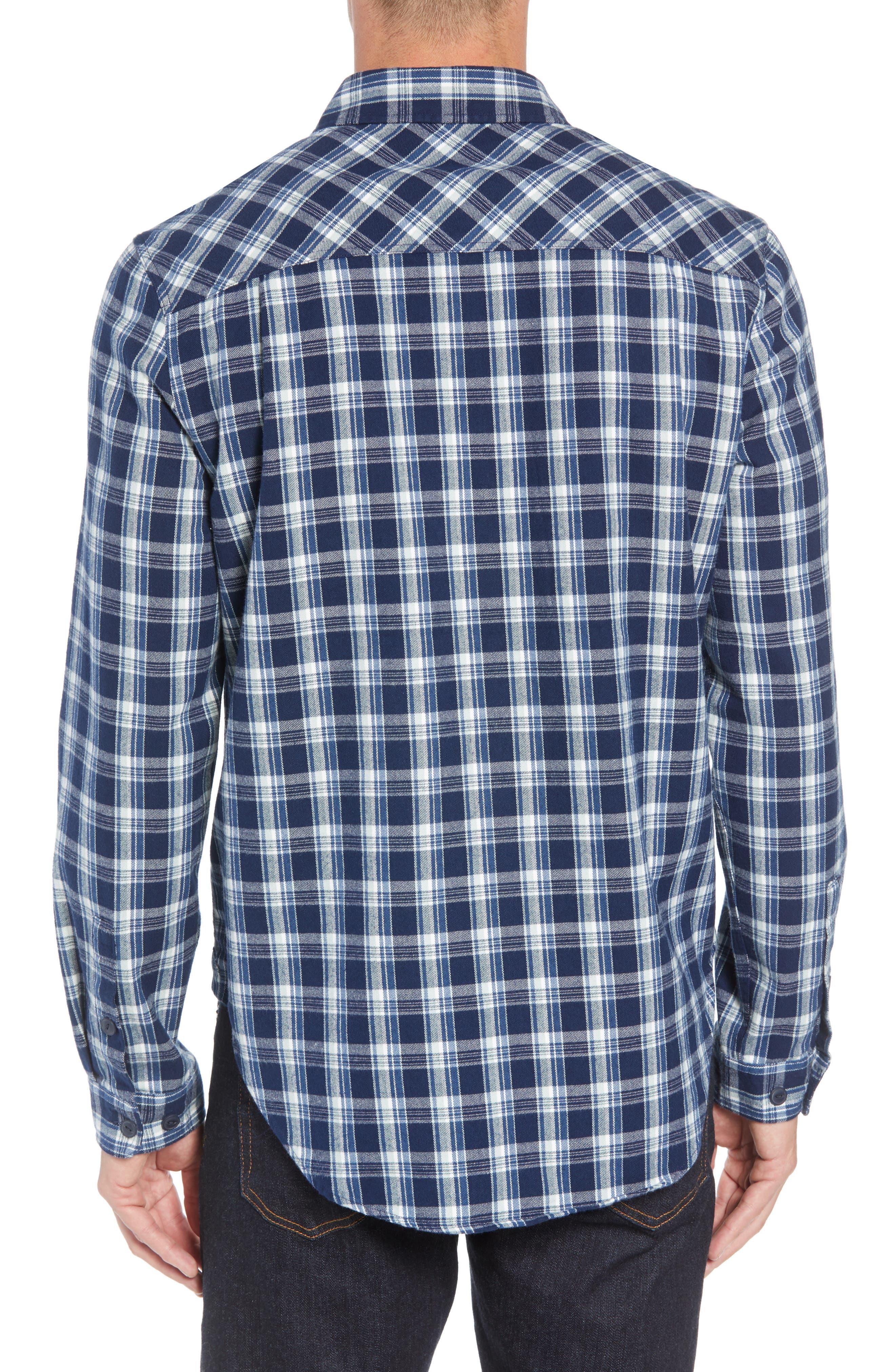 UGG<SUP>®</SUP>,                             Anders Flannel Sport Shirt,                             Alternate thumbnail 3, color,                             DARK DENIM PLAID