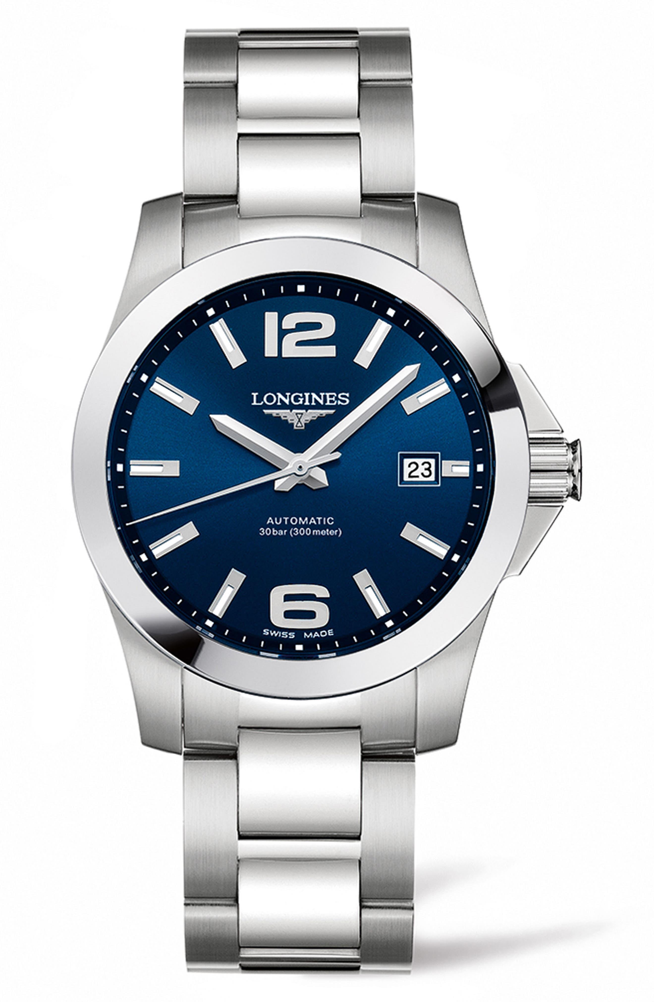 Conquest Automatic Bracelet Watch, 39mm,                             Main thumbnail 1, color,                             SILVER/ BLUE/ SILVER
