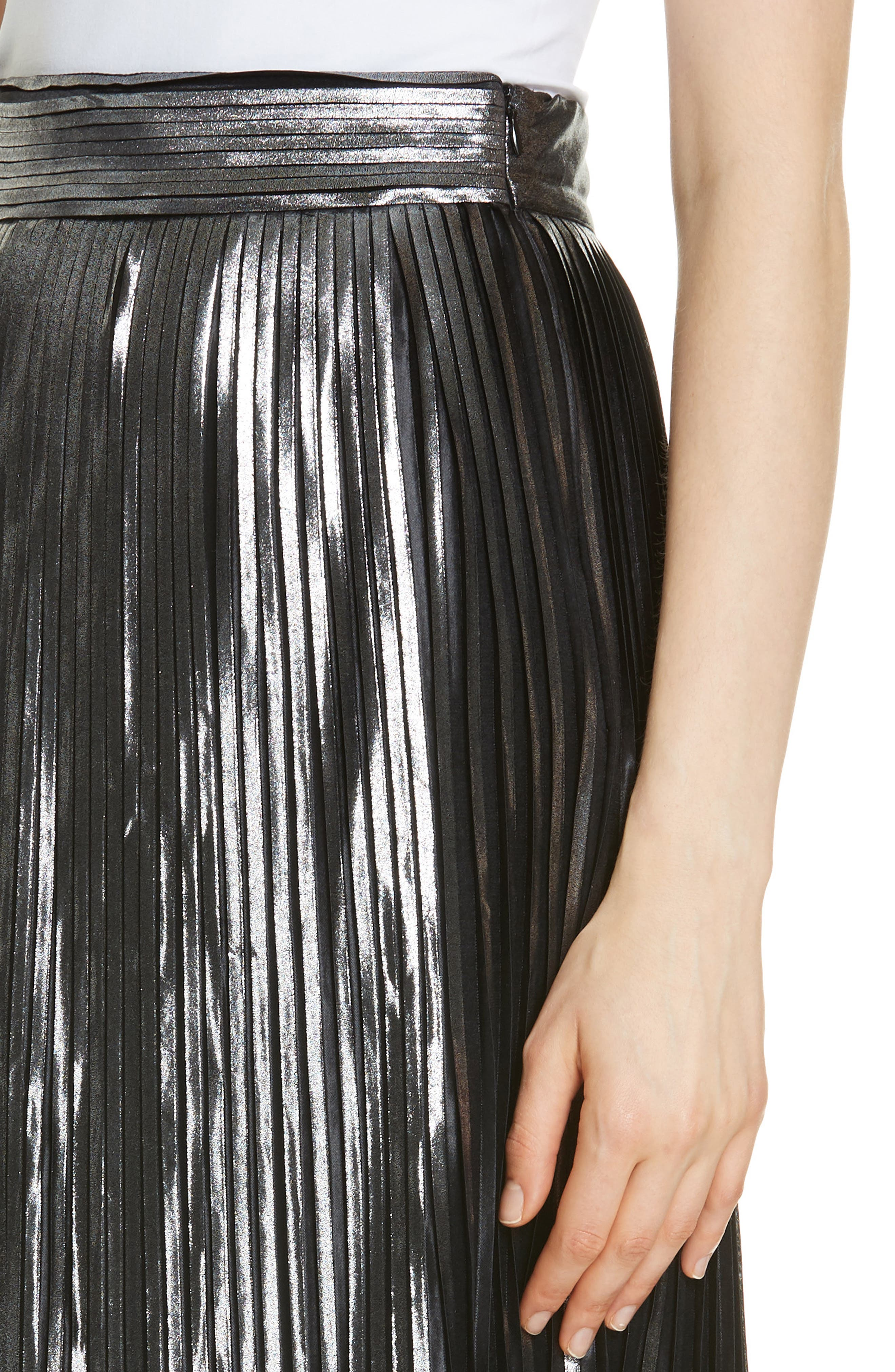 Palace Micropleat Metallic Skirt,                             Alternate thumbnail 4, color,                             ARGENT