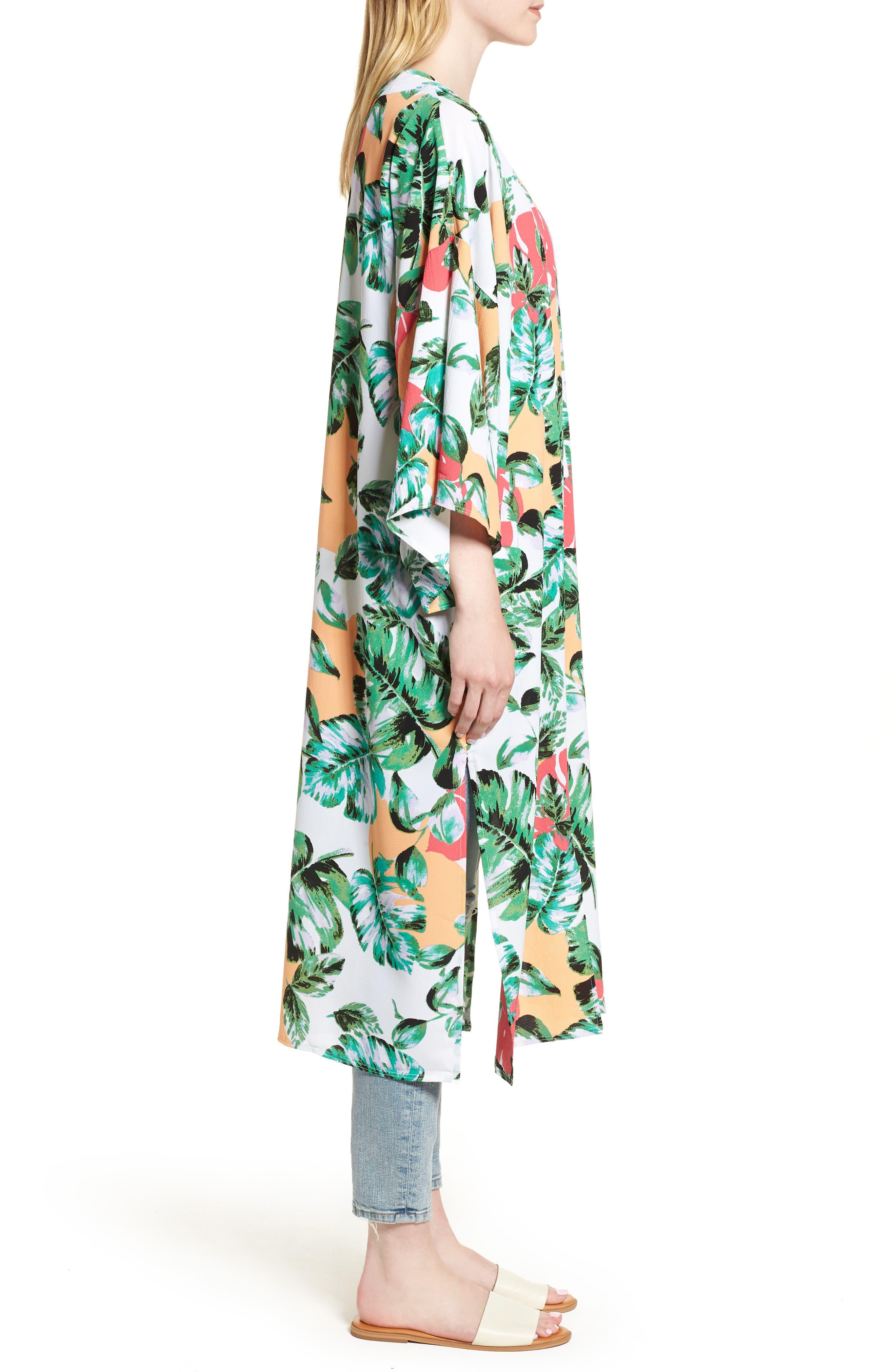 Vacation Print Kimono,                             Alternate thumbnail 3, color,                             CORAL PALMS PLEASE
