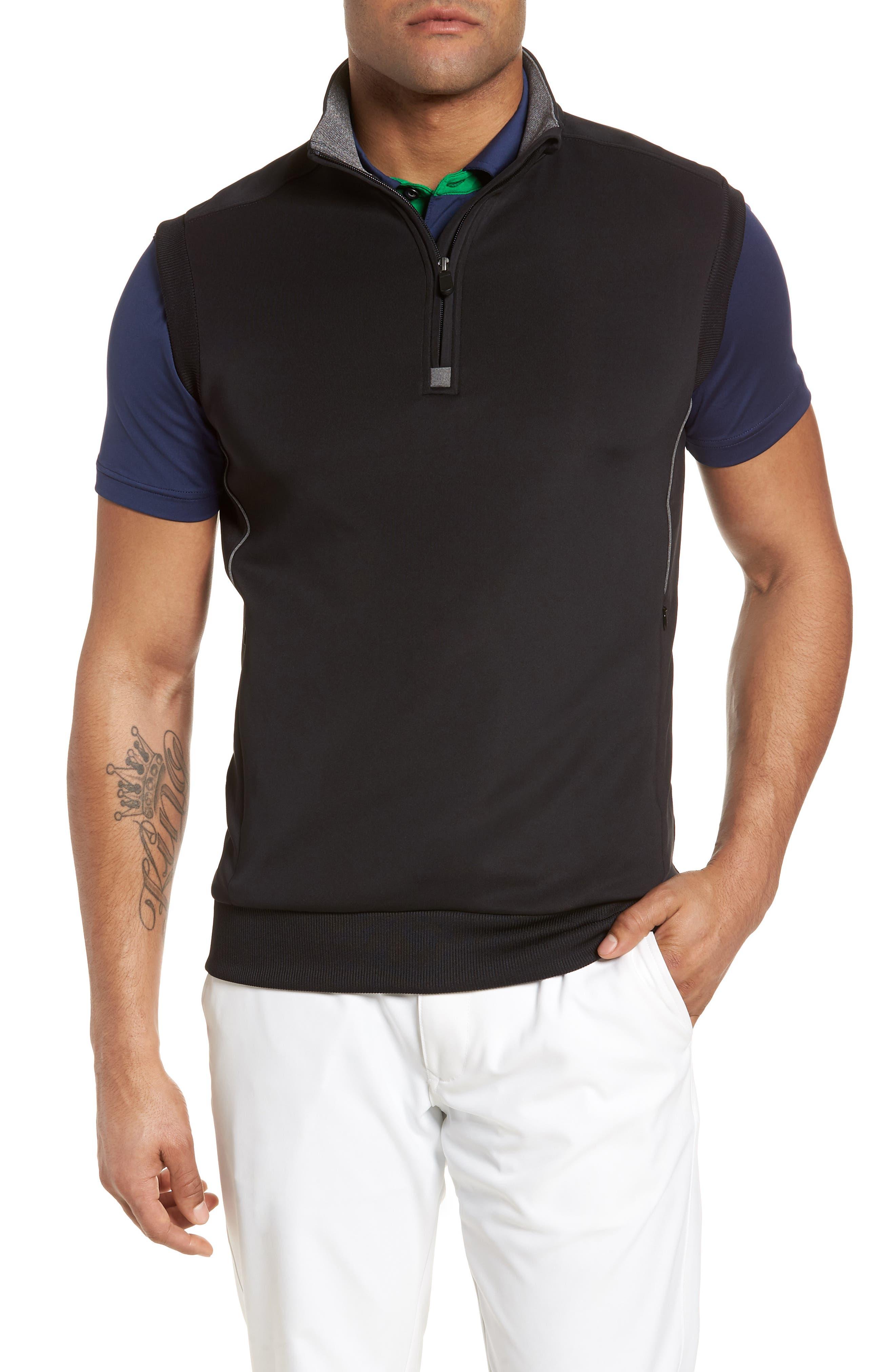 Bobby Jones Quarter Zip Tech Vest, Black