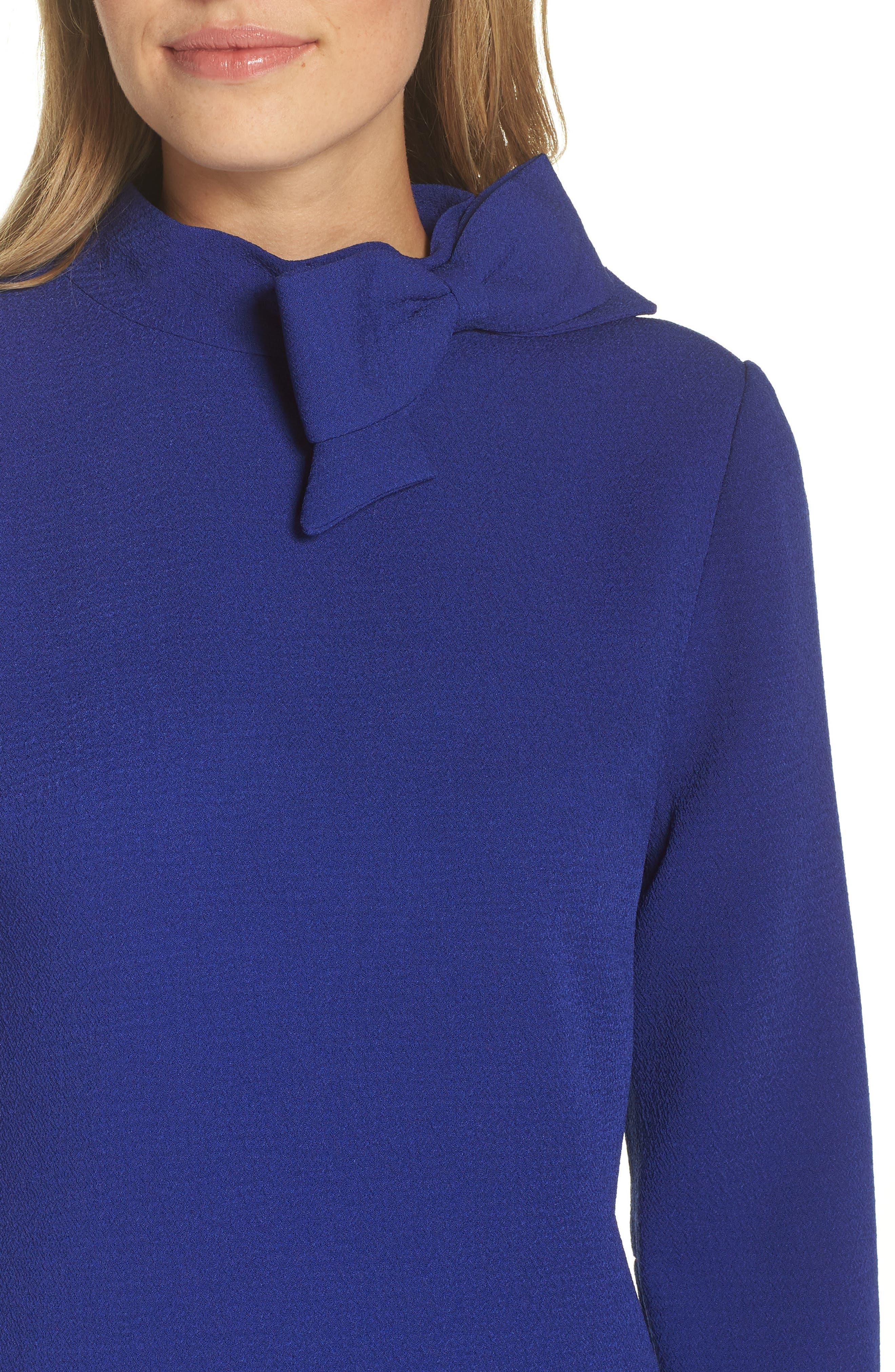 Bow Crepe A-Line Dress,                             Alternate thumbnail 4, color,                             COBALT