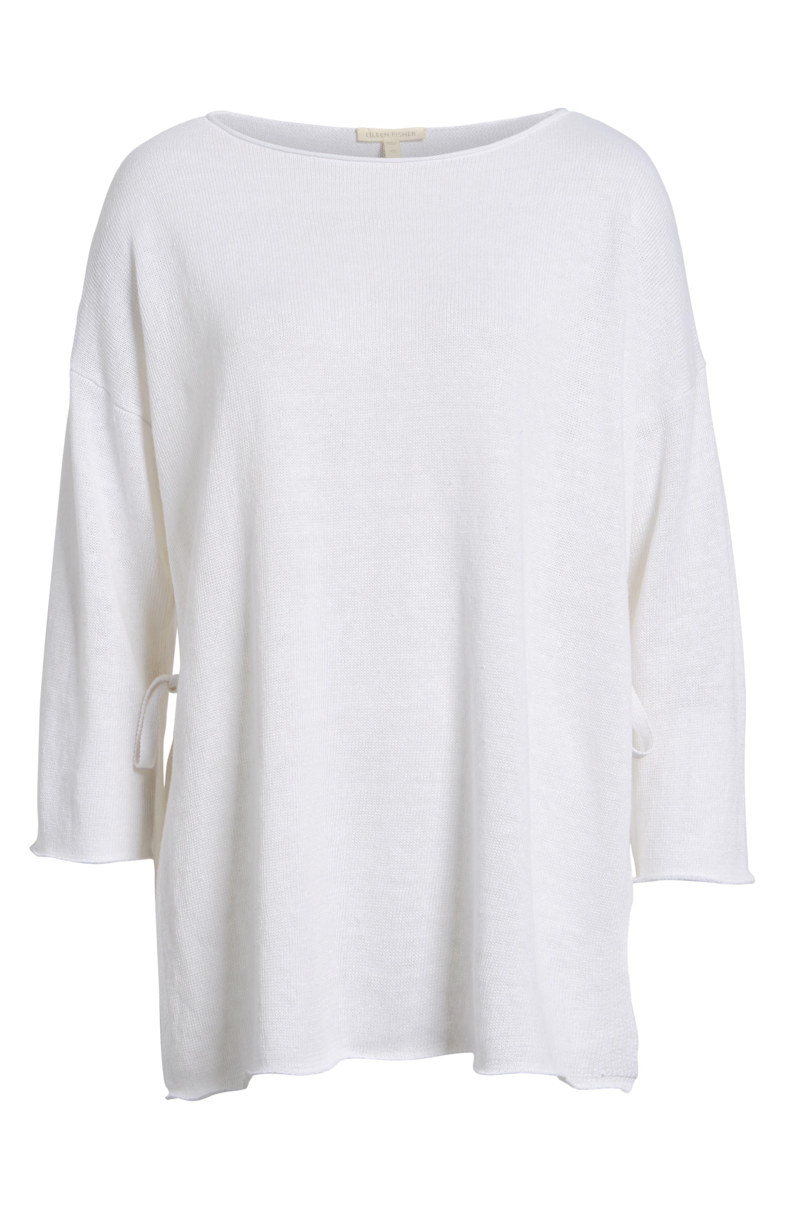 Side Tie Organic Linen Sweater,                             Alternate thumbnail 6, color,                             100