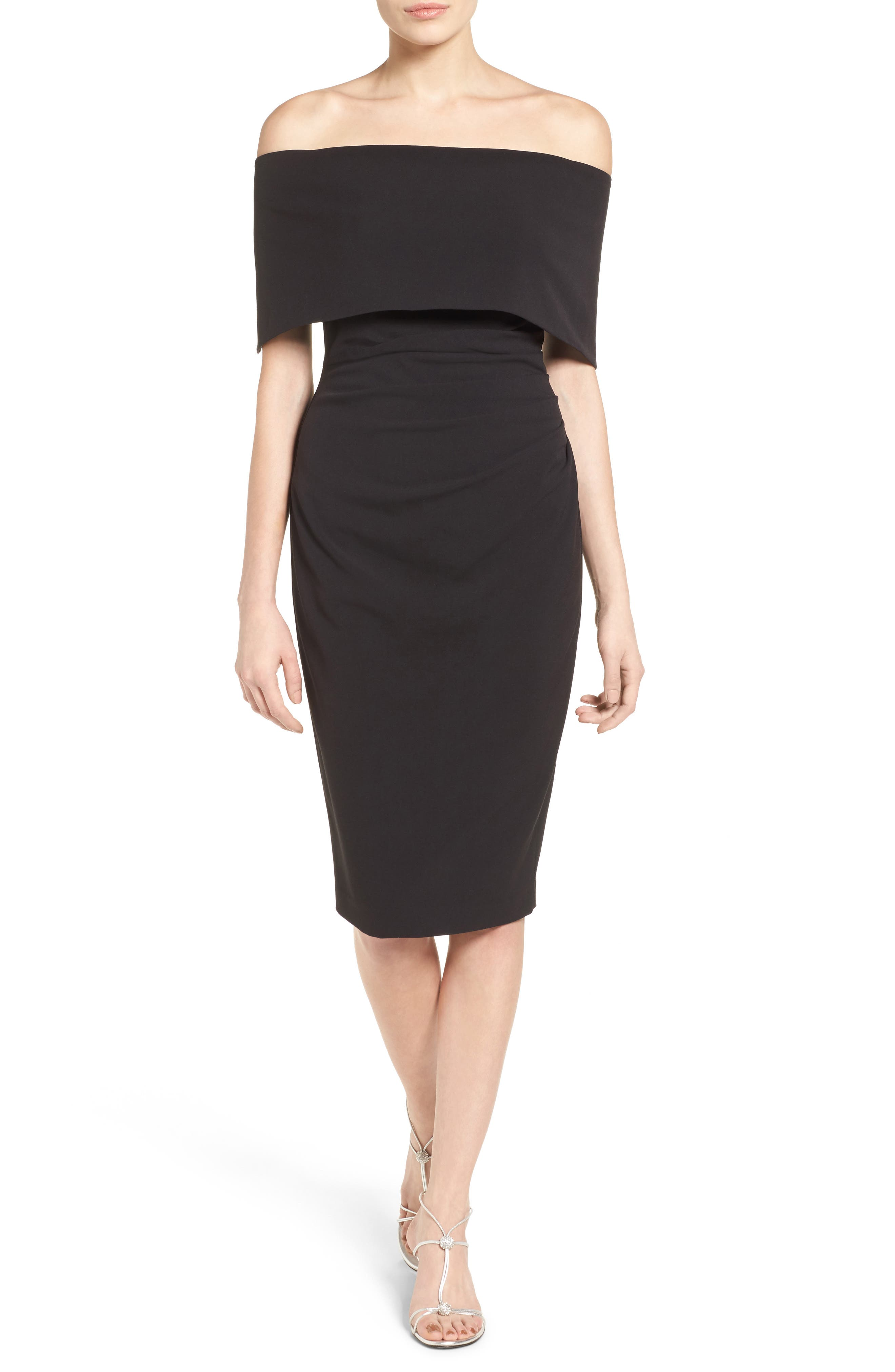 Popover Midi Dress,                             Alternate thumbnail 5, color,                             BLACK