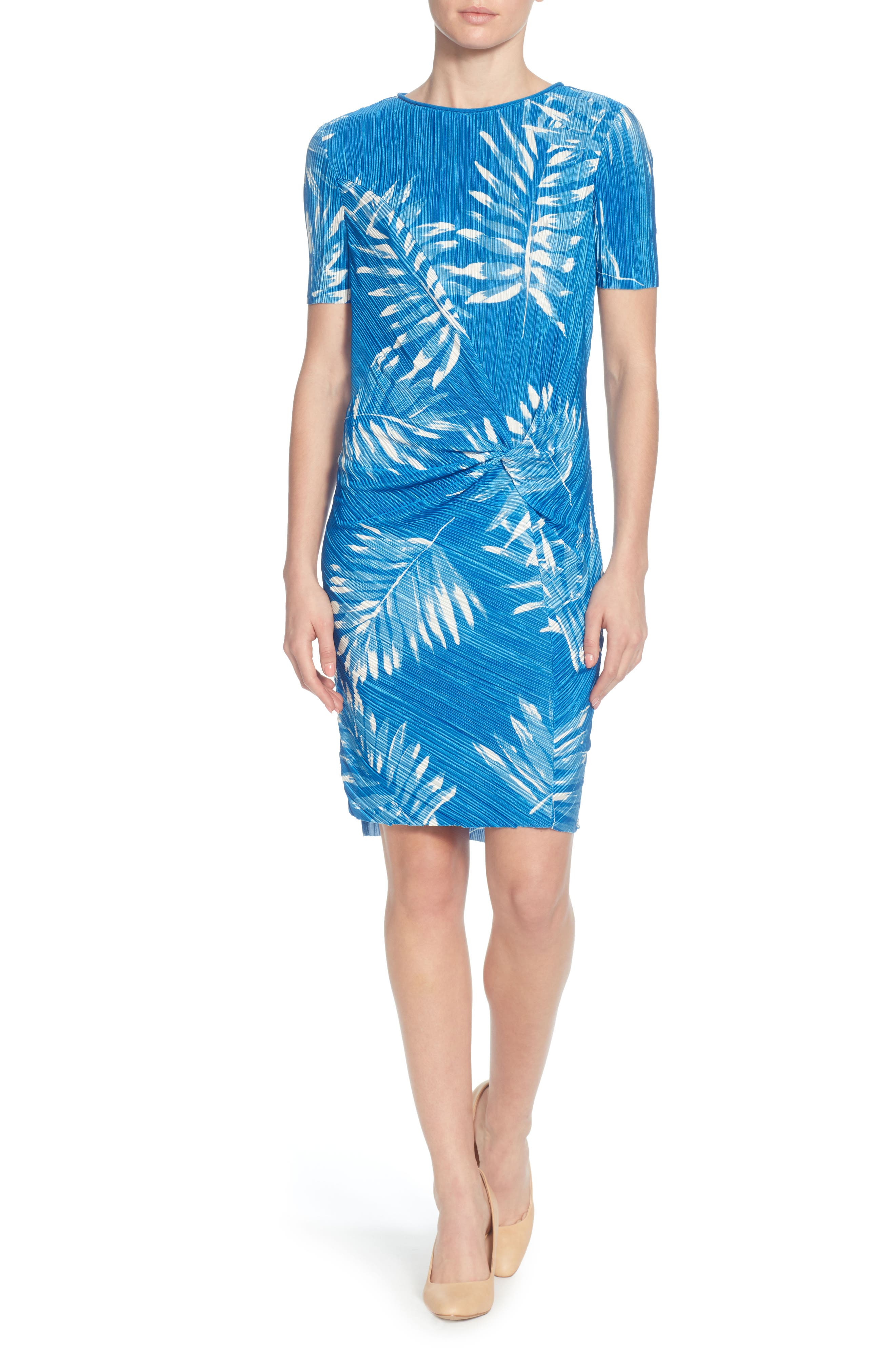 Catherine Malandrino Dina Micropleat Dress Blue