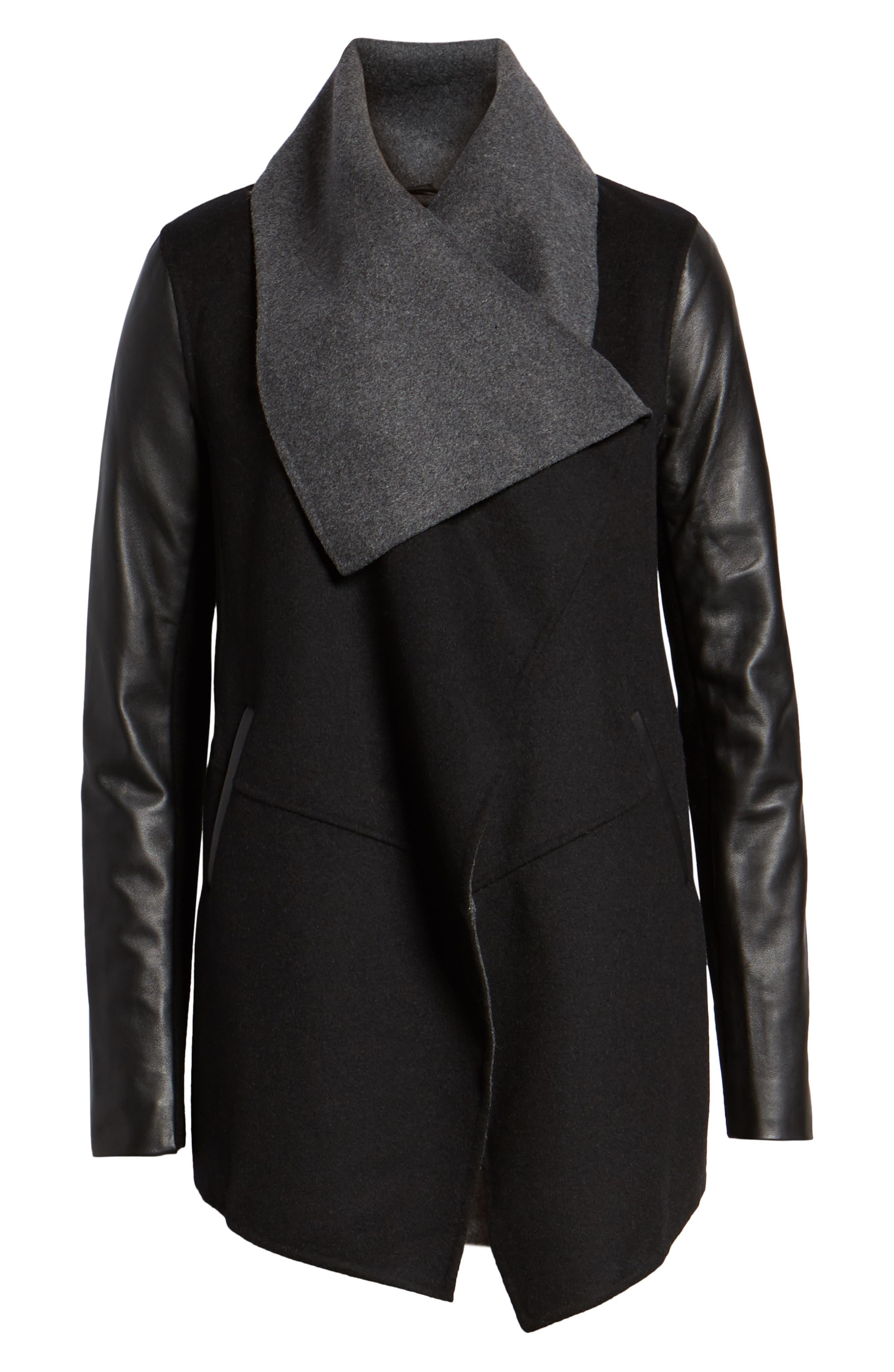 Vane Asymmetrical Leather Sleeve Coat,                             Alternate thumbnail 6, color,                             BLACK/ CHARCOAL