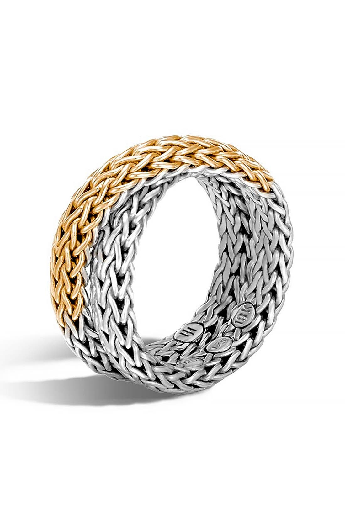 JOHN HARDY,                             'Classic Chain' Overlap Ring,                             Main thumbnail 1, color,                             SILVER/ GOLD