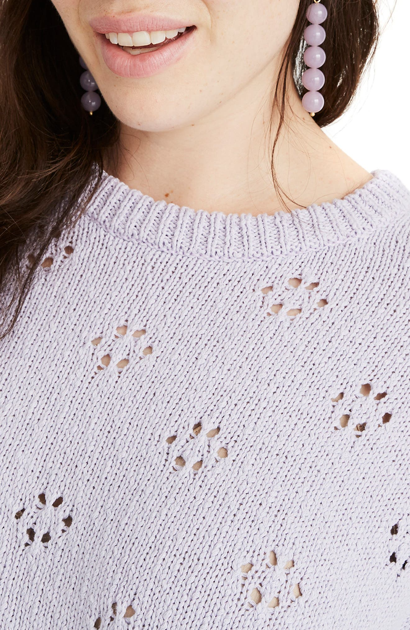 Floral Pointelle Pullover Sweater,                             Alternate thumbnail 5, color,                             SUNDRENCHED LILAC