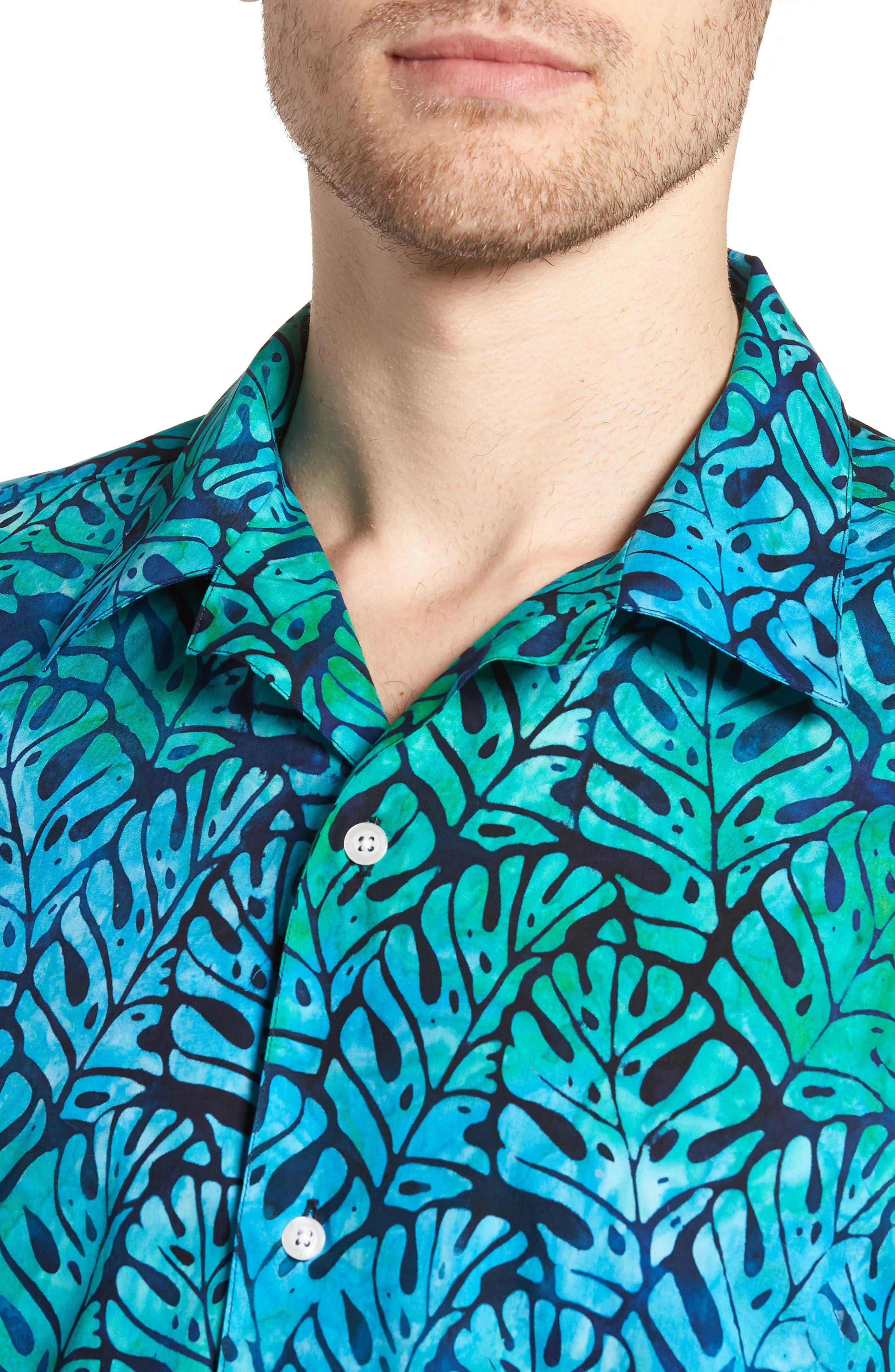 Oahu Trim Fit Sport Shirt,                             Alternate thumbnail 4, color,