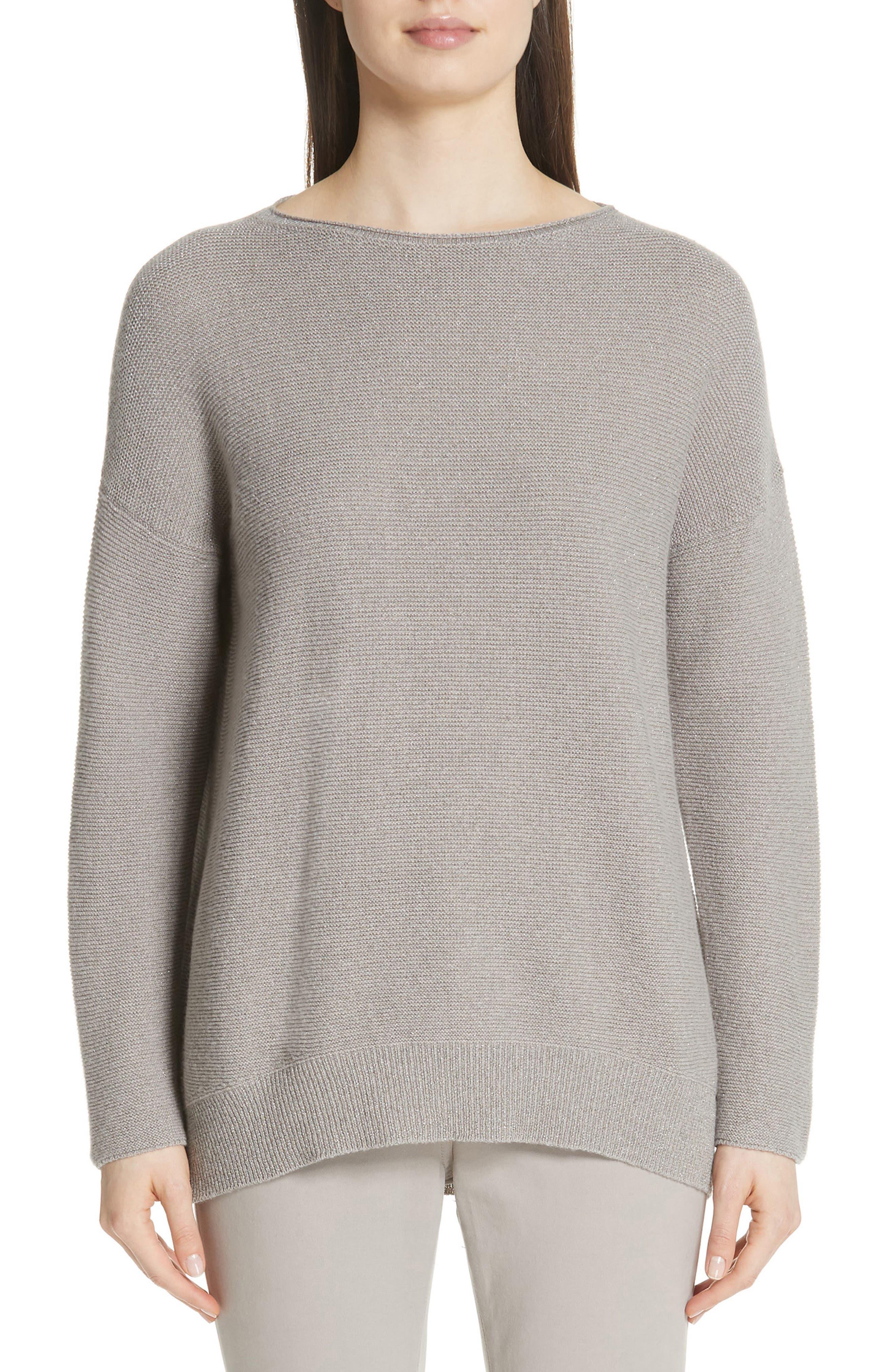 Fabiana Filippi Merino Wool, Silk & Cashmere Blend Sweater, US / 44 IT - Grey