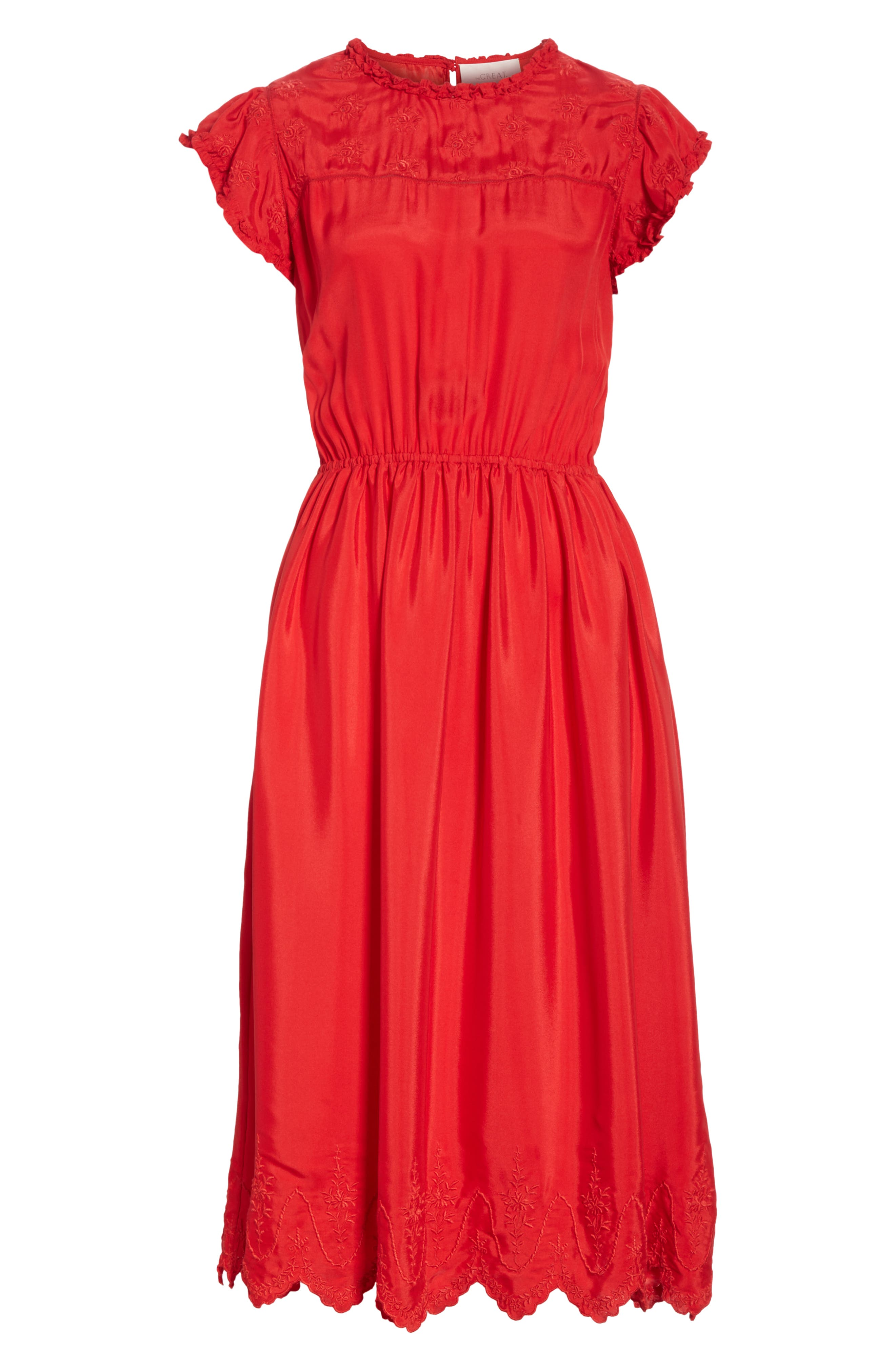 Moonlight Embroidered Silk Dress,                             Alternate thumbnail 6, color,                             VALENTINE
