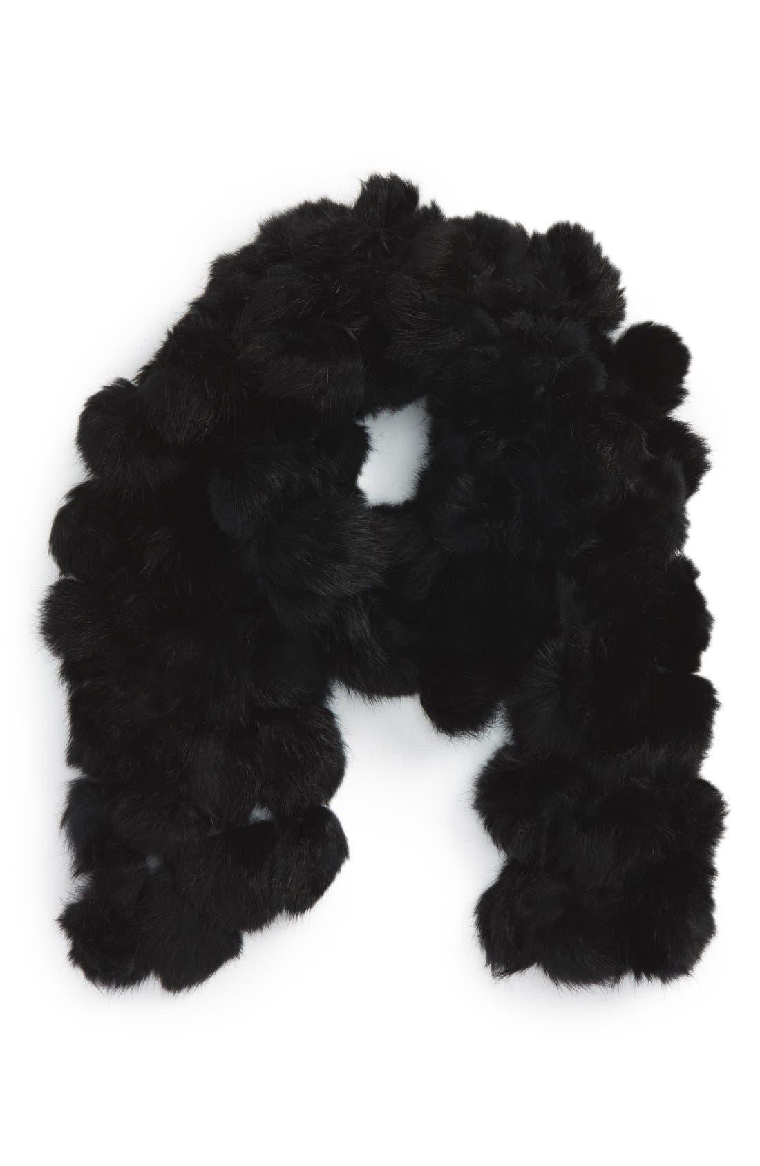 Genuine Rabbit Fur Scarf,                         Main,                         color, BLACK