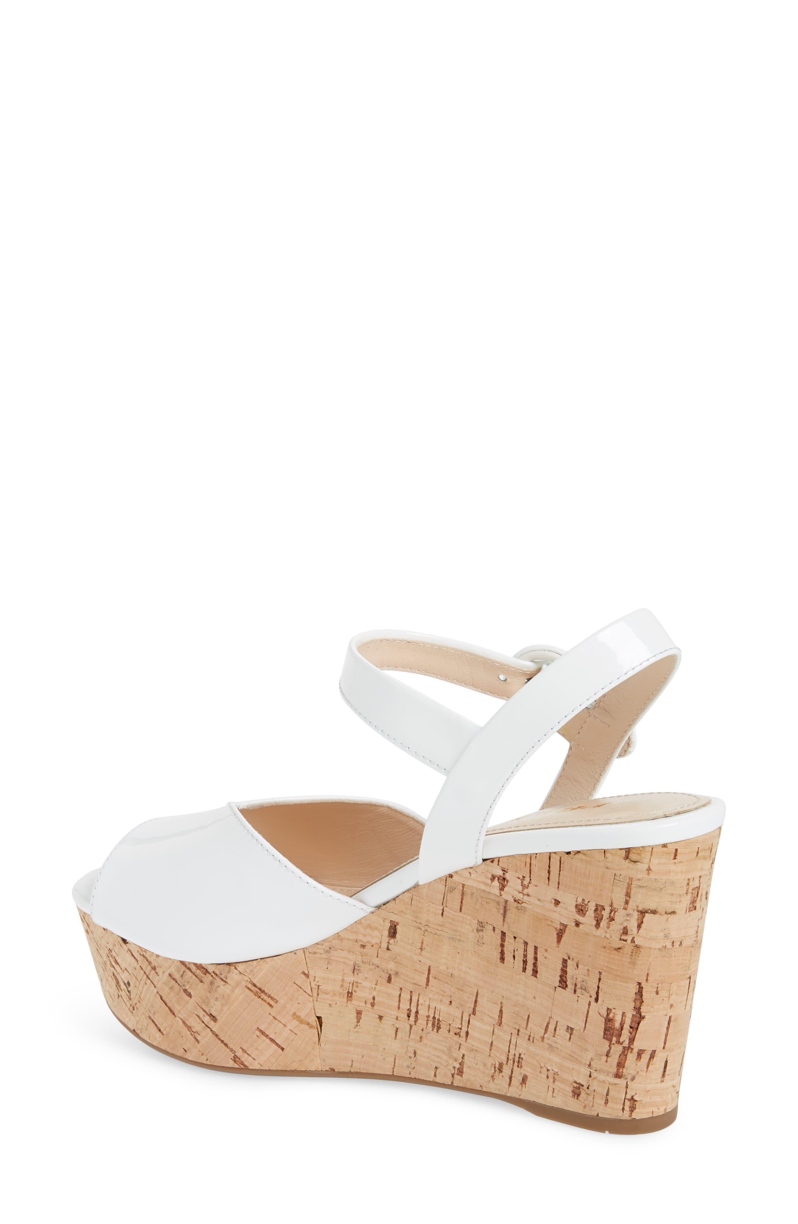 Wedge Platform Sandal,                             Alternate thumbnail 2, color,                             WHITE PATENT