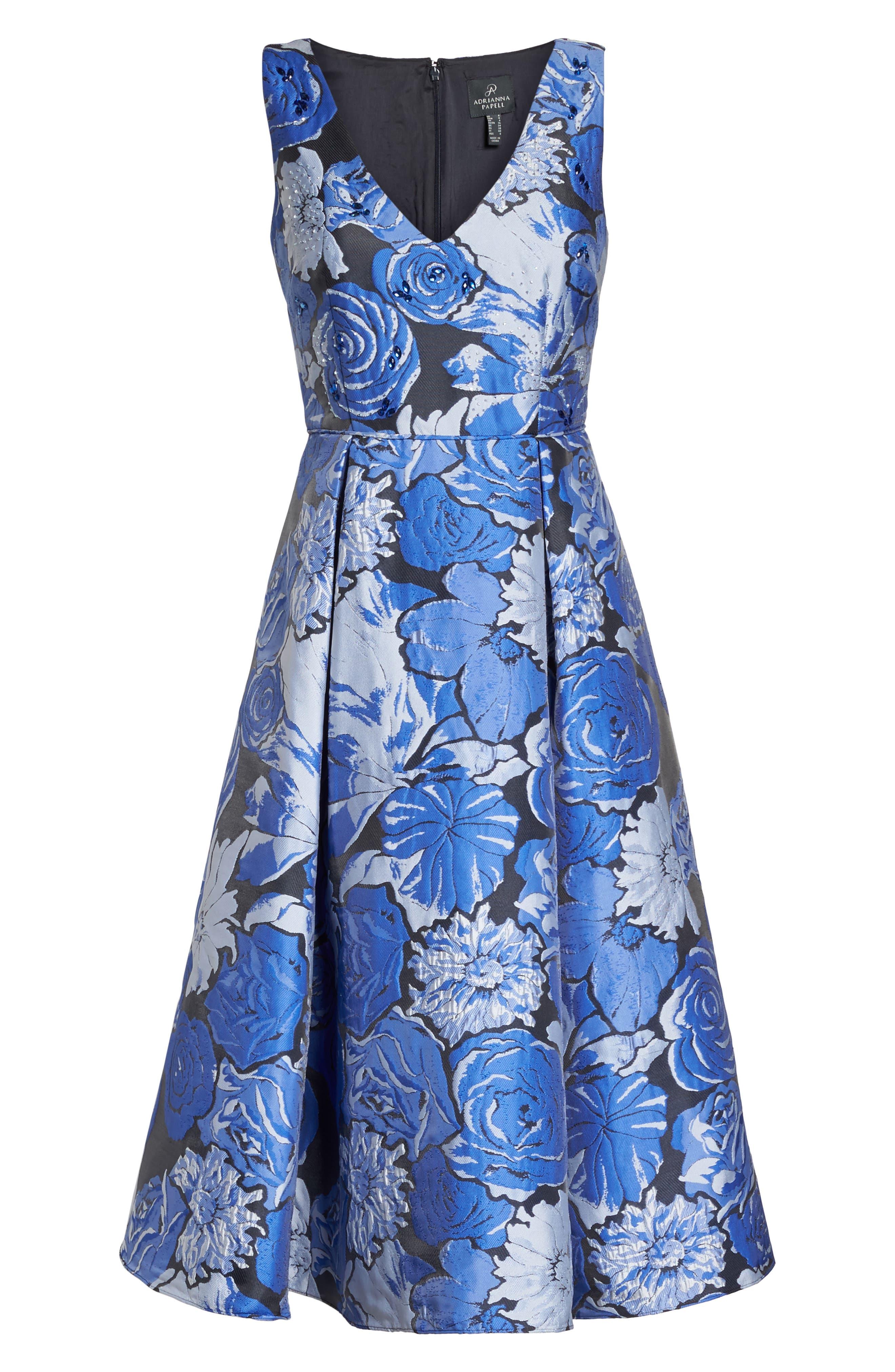 Jacquard Fit & Flare Dress,                             Alternate thumbnail 6, color,