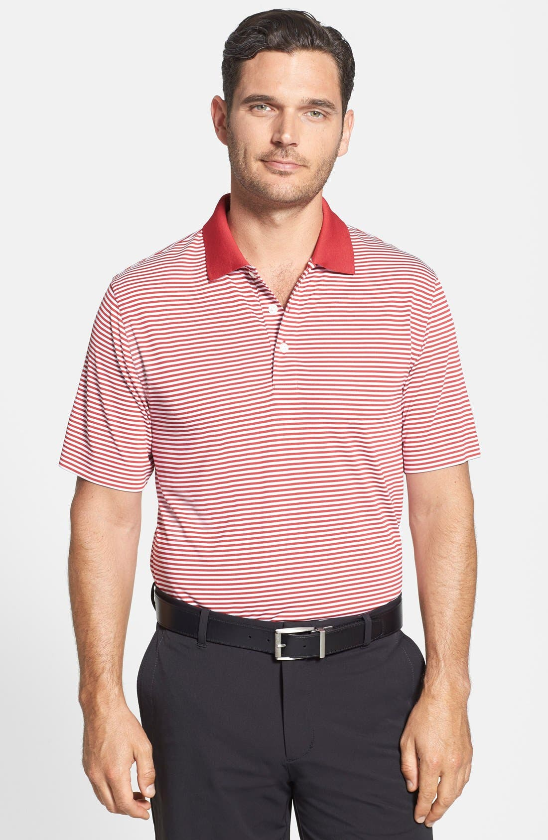 Trevor Stripe DryTec Polo,                             Alternate thumbnail 4, color,                             BLACK/ OXIDE