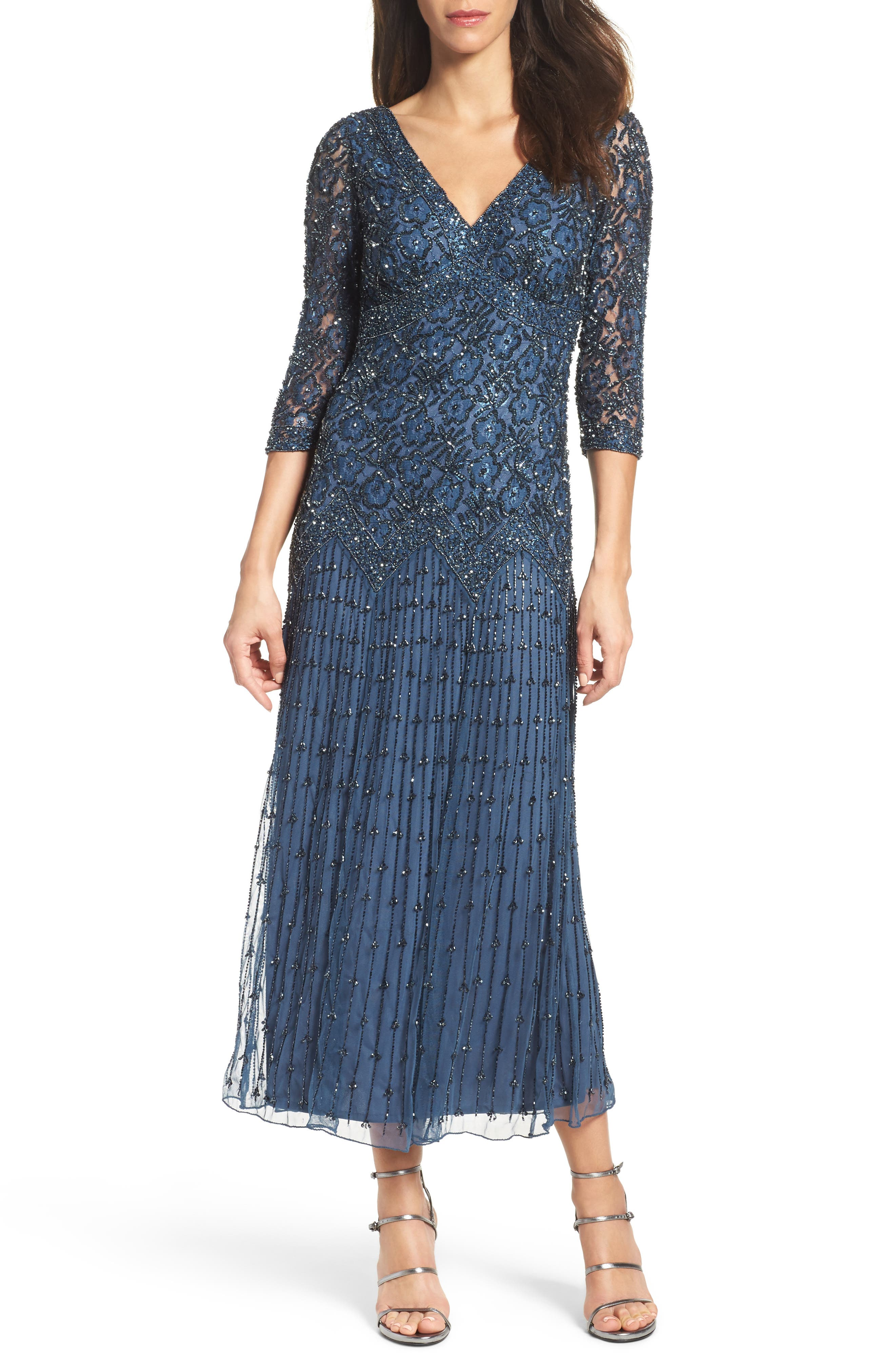 Beaded Mesh Dress,                         Main,                         color, BLUE