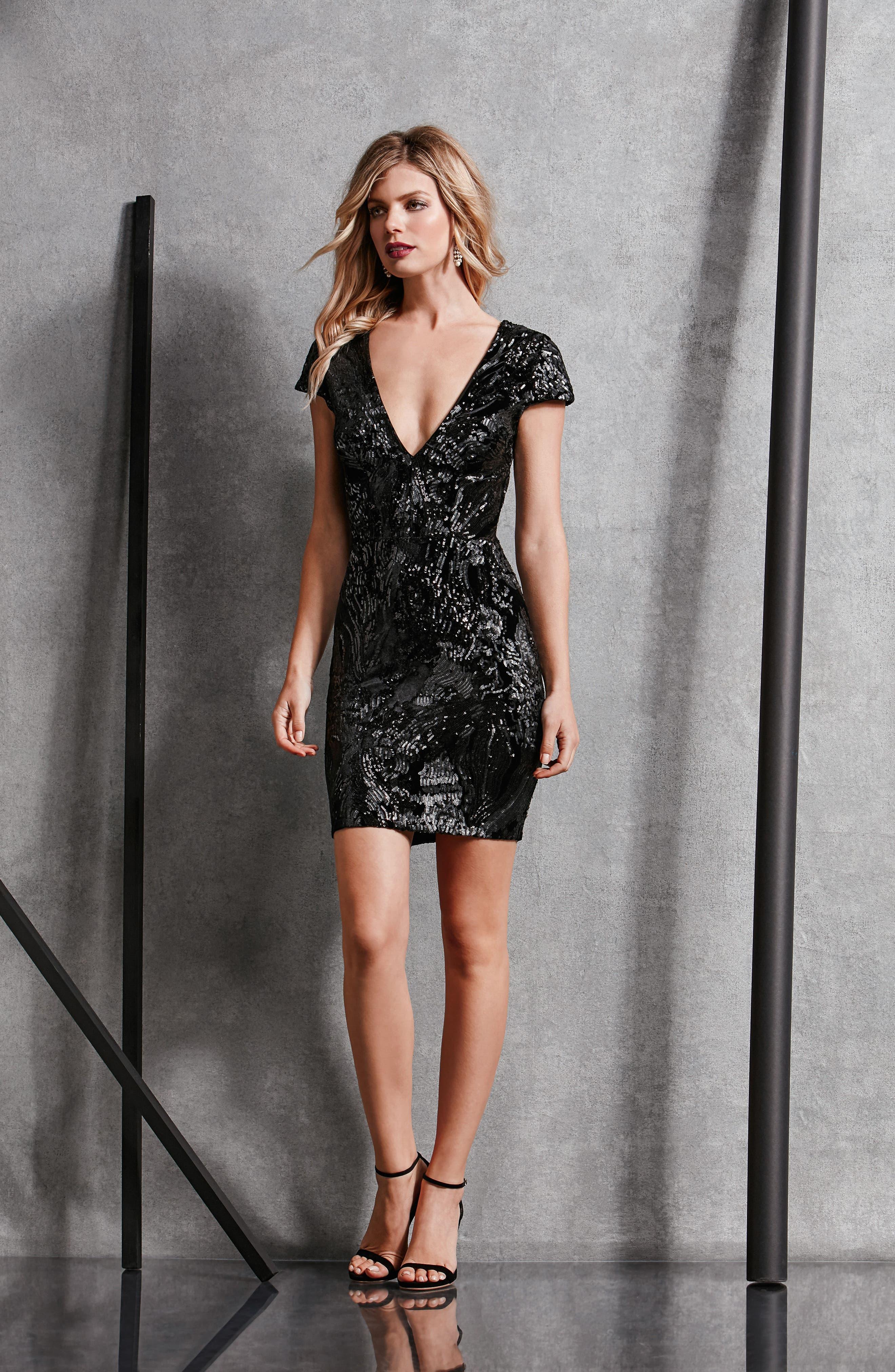 Zoe Plunge Sequin Velvet Body-Con Dress,                             Alternate thumbnail 5, color,                             015