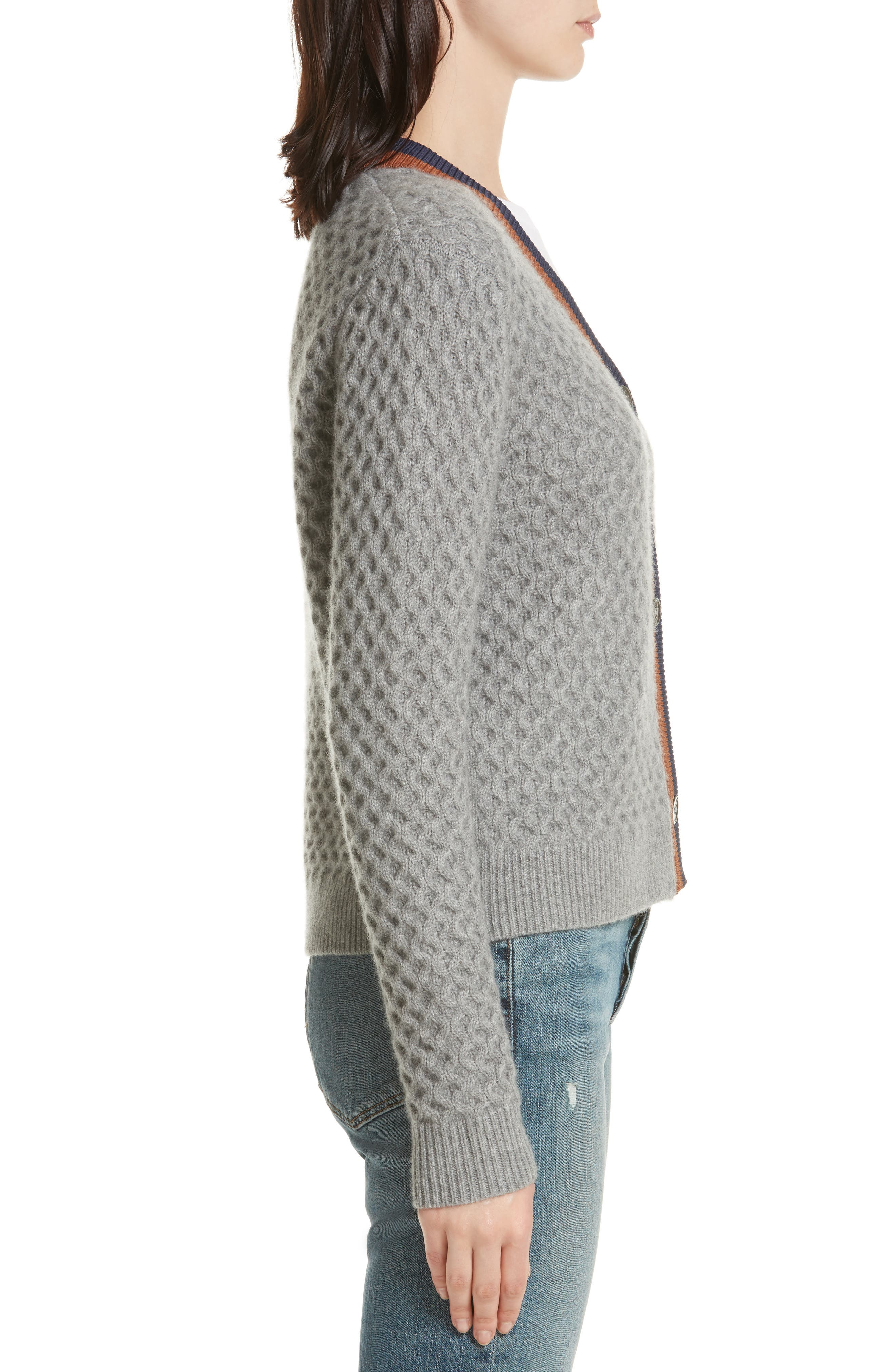 The Dylan Cashmere Cardigan,                             Alternate thumbnail 3, color,                             GREY/ VICUNA/ NAVY