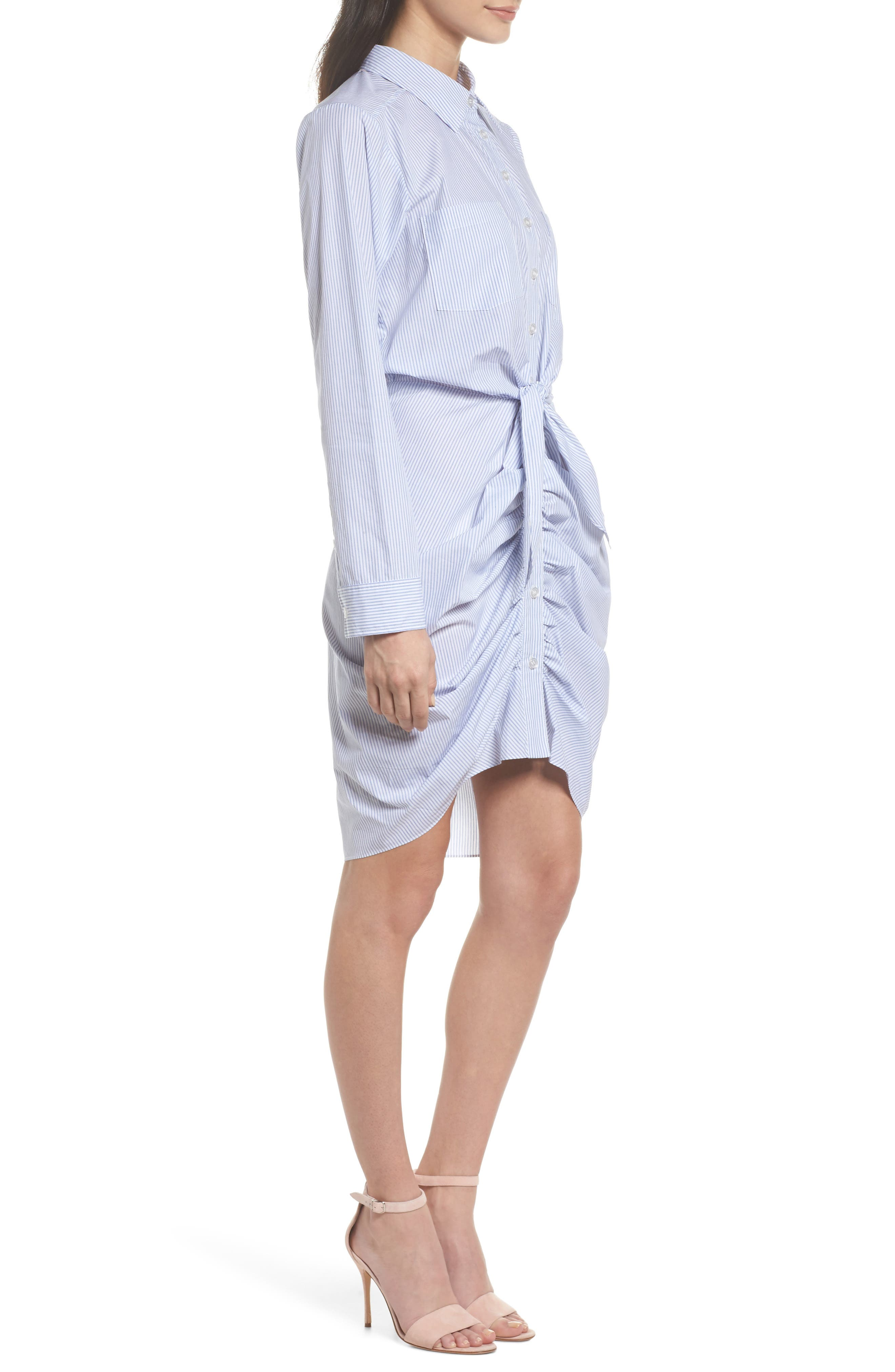 Ruched Tie Waist Shirtdress,                             Alternate thumbnail 3, color,                             450