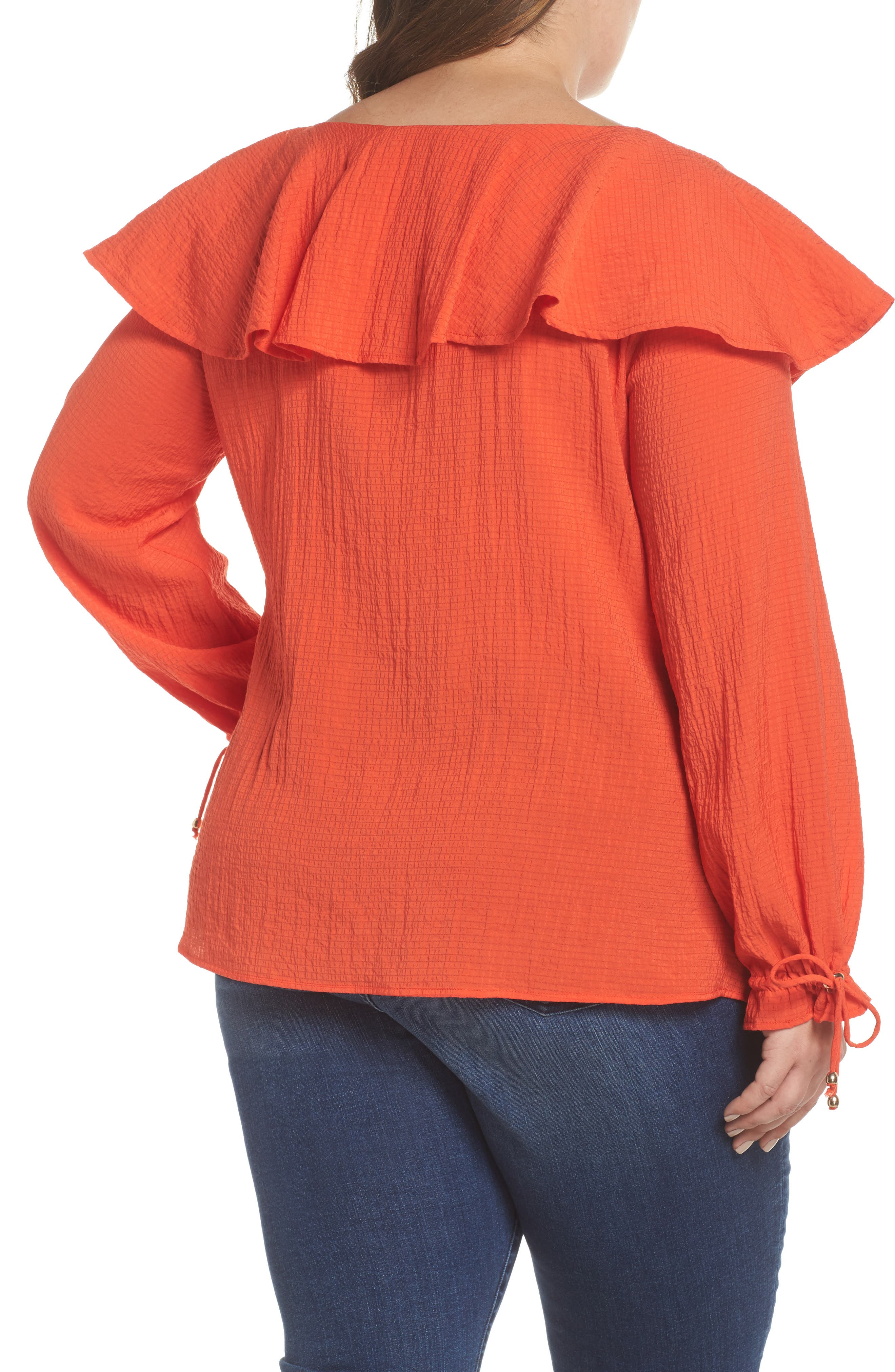 The Rose Ruffle Blouse,                             Alternate thumbnail 2, color,                             RED