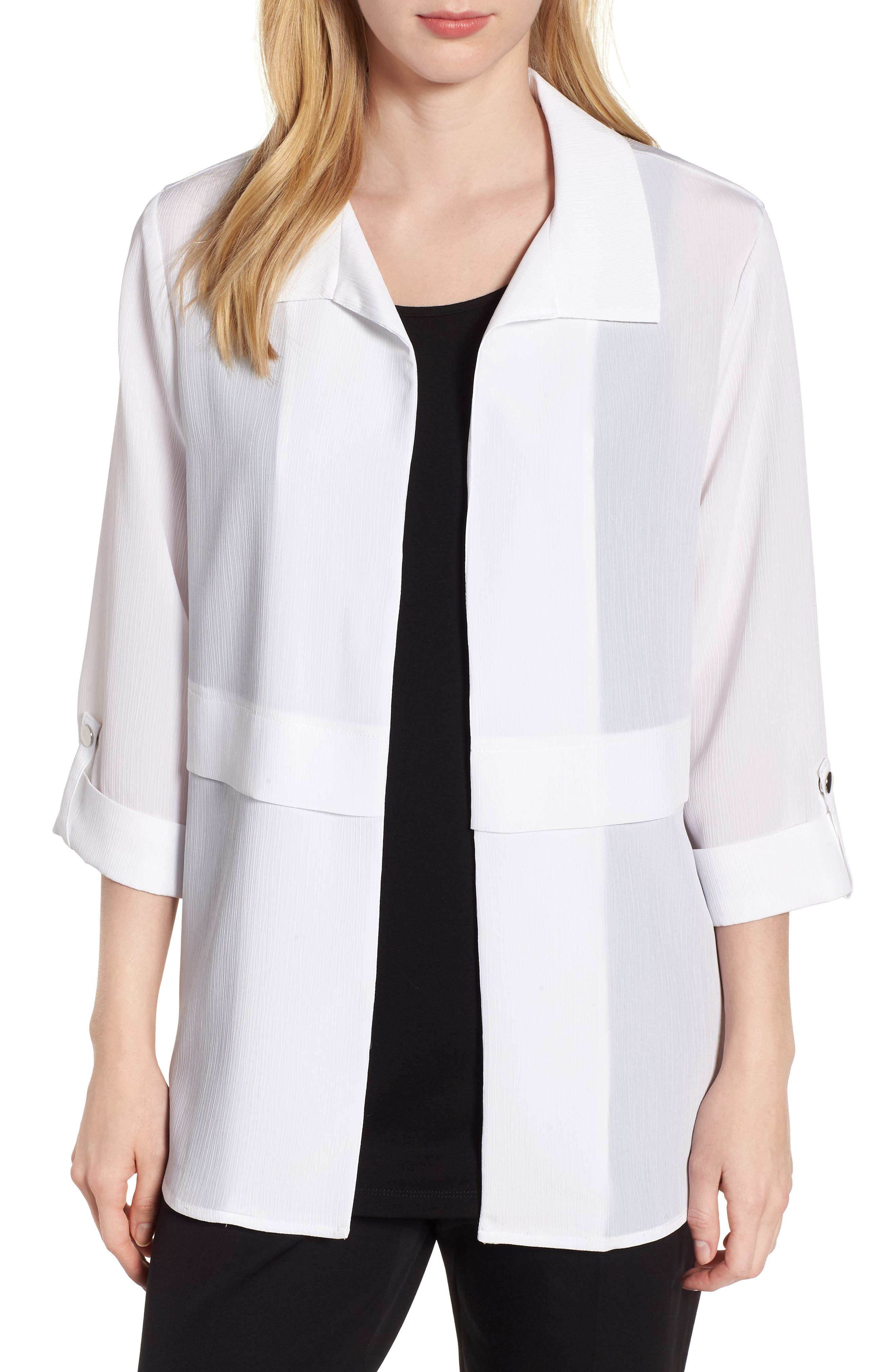 Gauzy Roll-Tab Sleeve Jacket,                         Main,                         color, WHITE