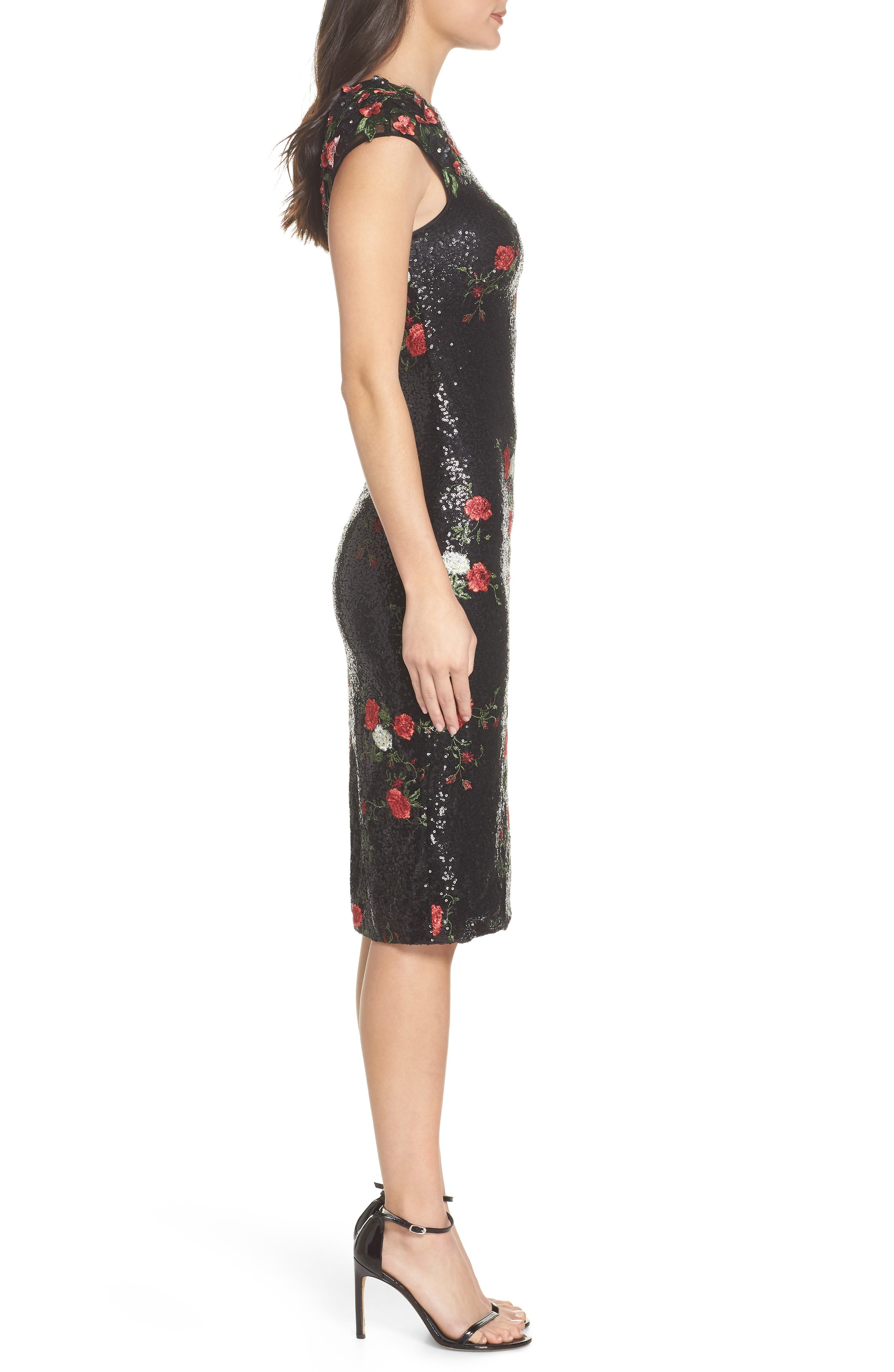 Sequin & Embroidery Sheath Dress,                             Alternate thumbnail 3, color,                             BLACK ROSE