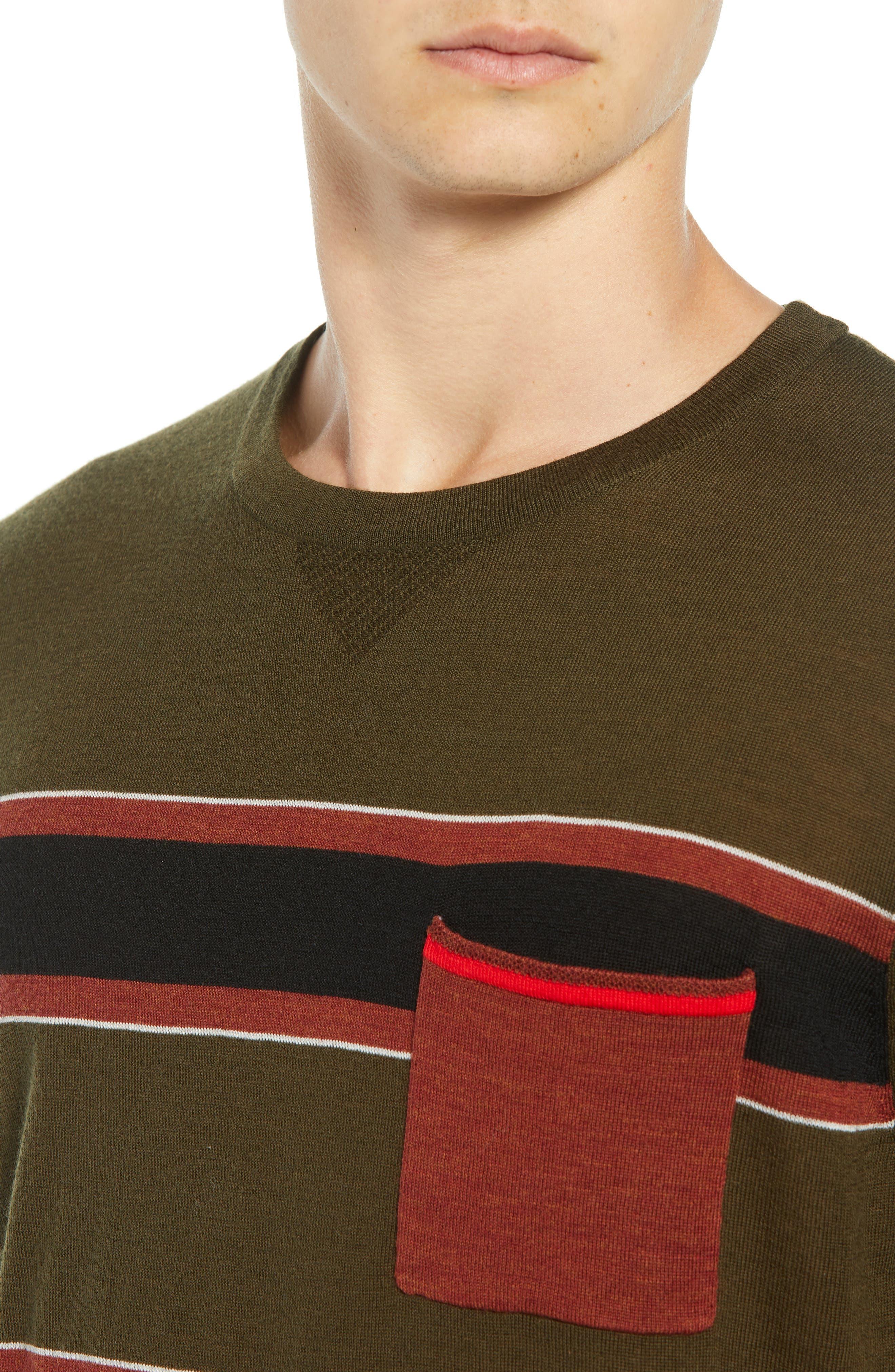 Stripe Merino Wool Pocket T-Shirt,                             Alternate thumbnail 4, color,                             COMBO B