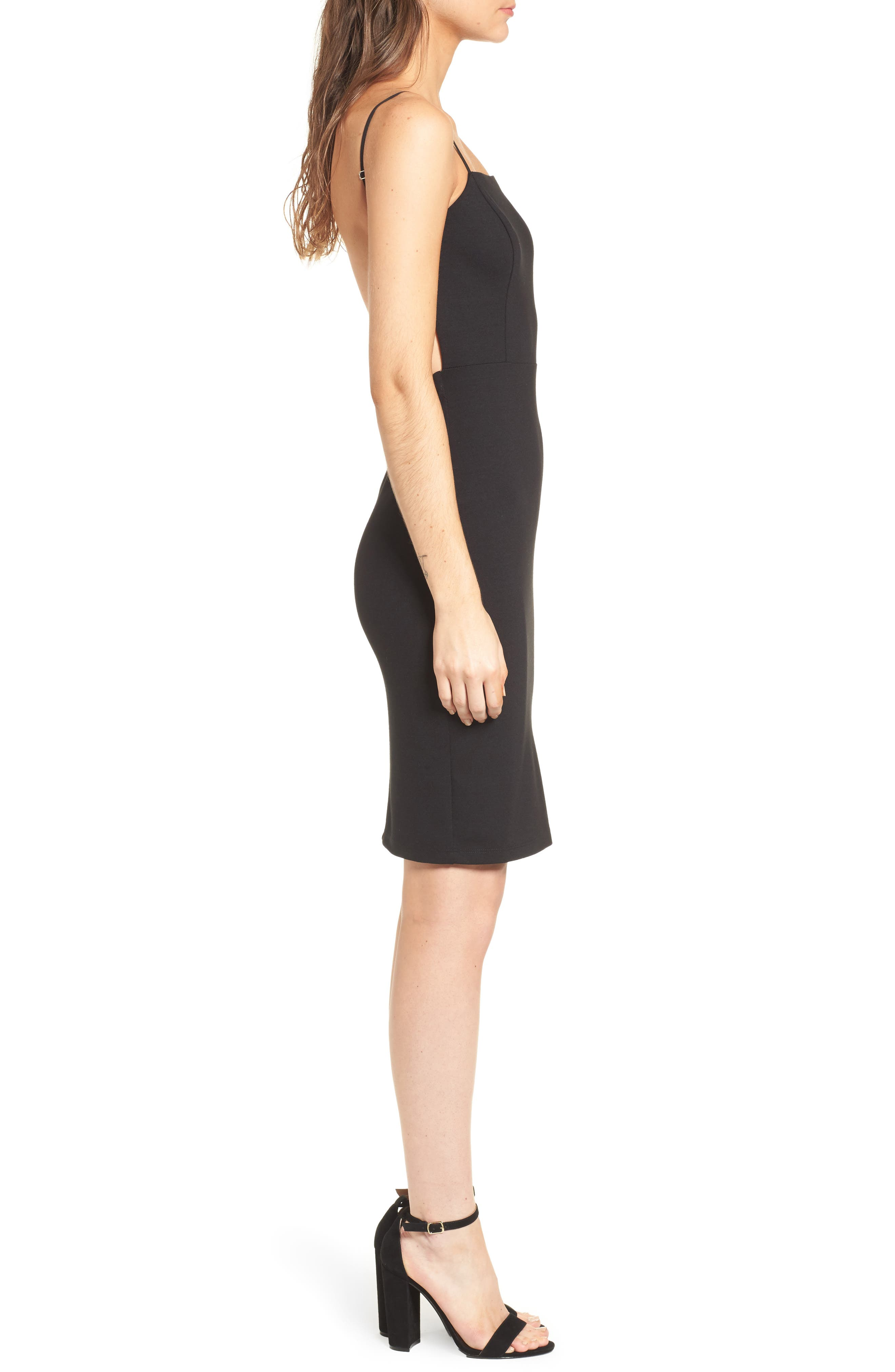Open Back Body-Con Dress,                             Alternate thumbnail 3, color,                             001