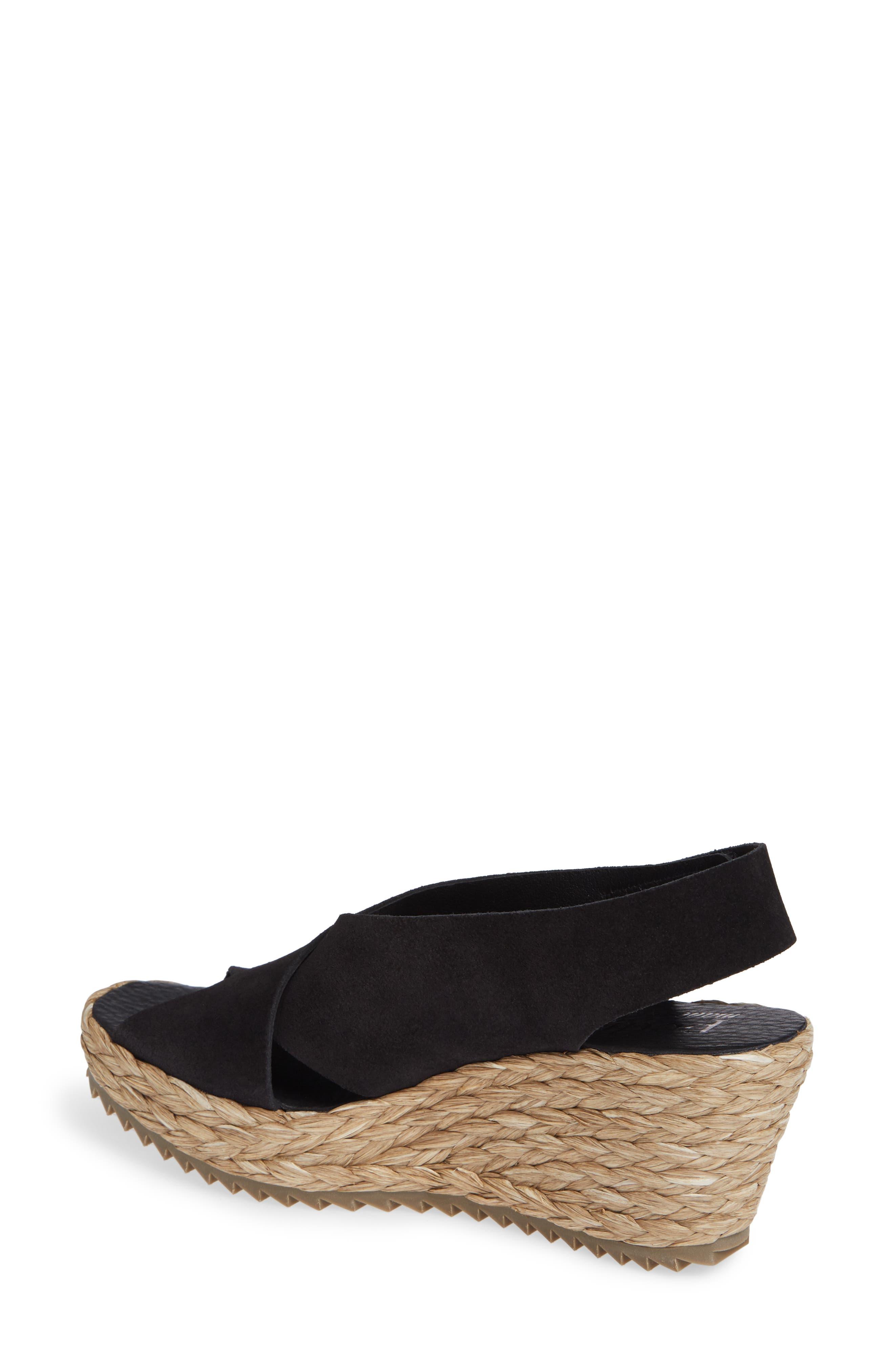 'Federica' Wedge Sandal,                             Alternate thumbnail 2, color,                             BLACK CASTORO/ RAFFIA