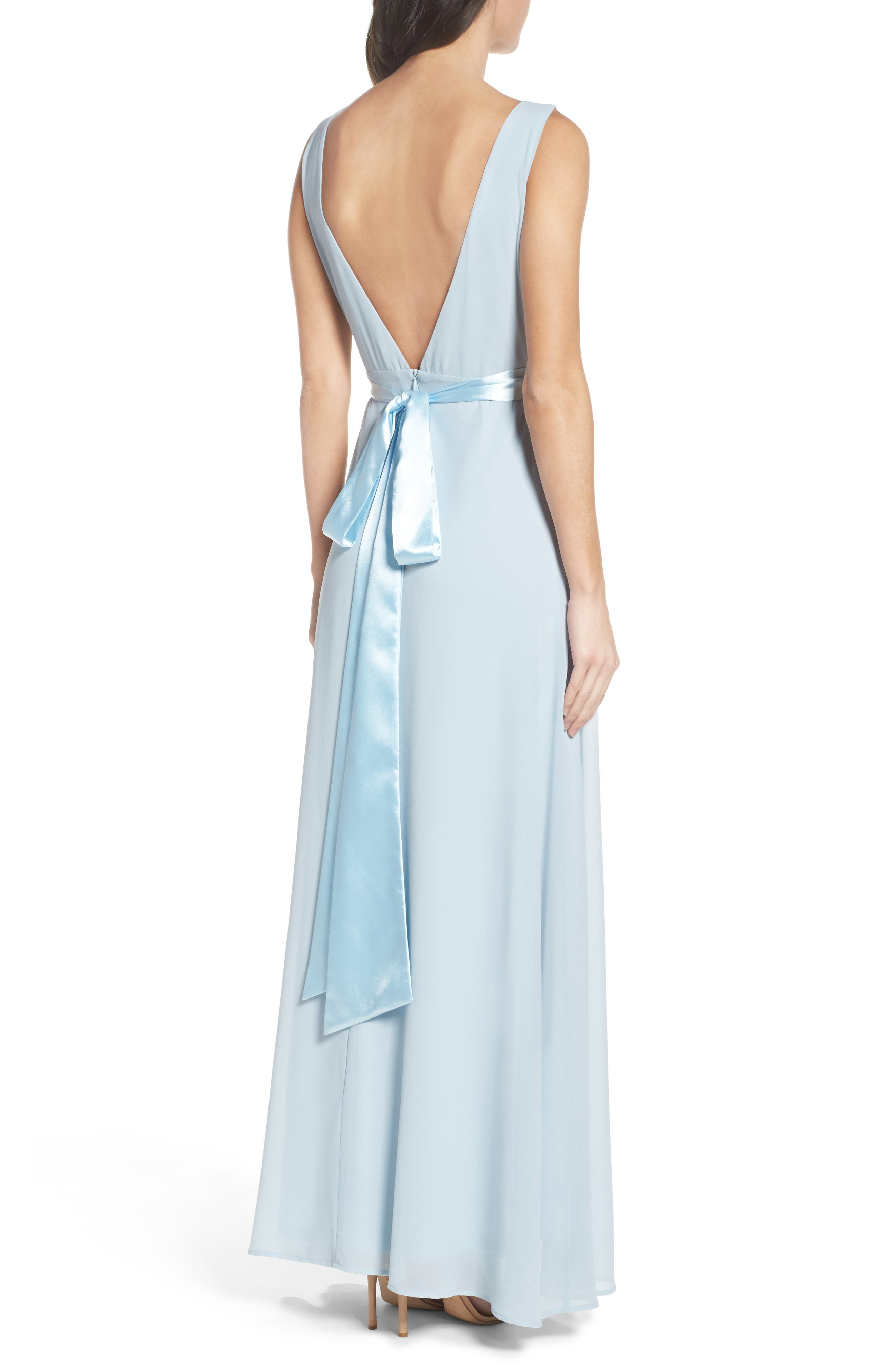 Belted V-Back Chiffon Gown,                             Alternate thumbnail 2, color,                             400