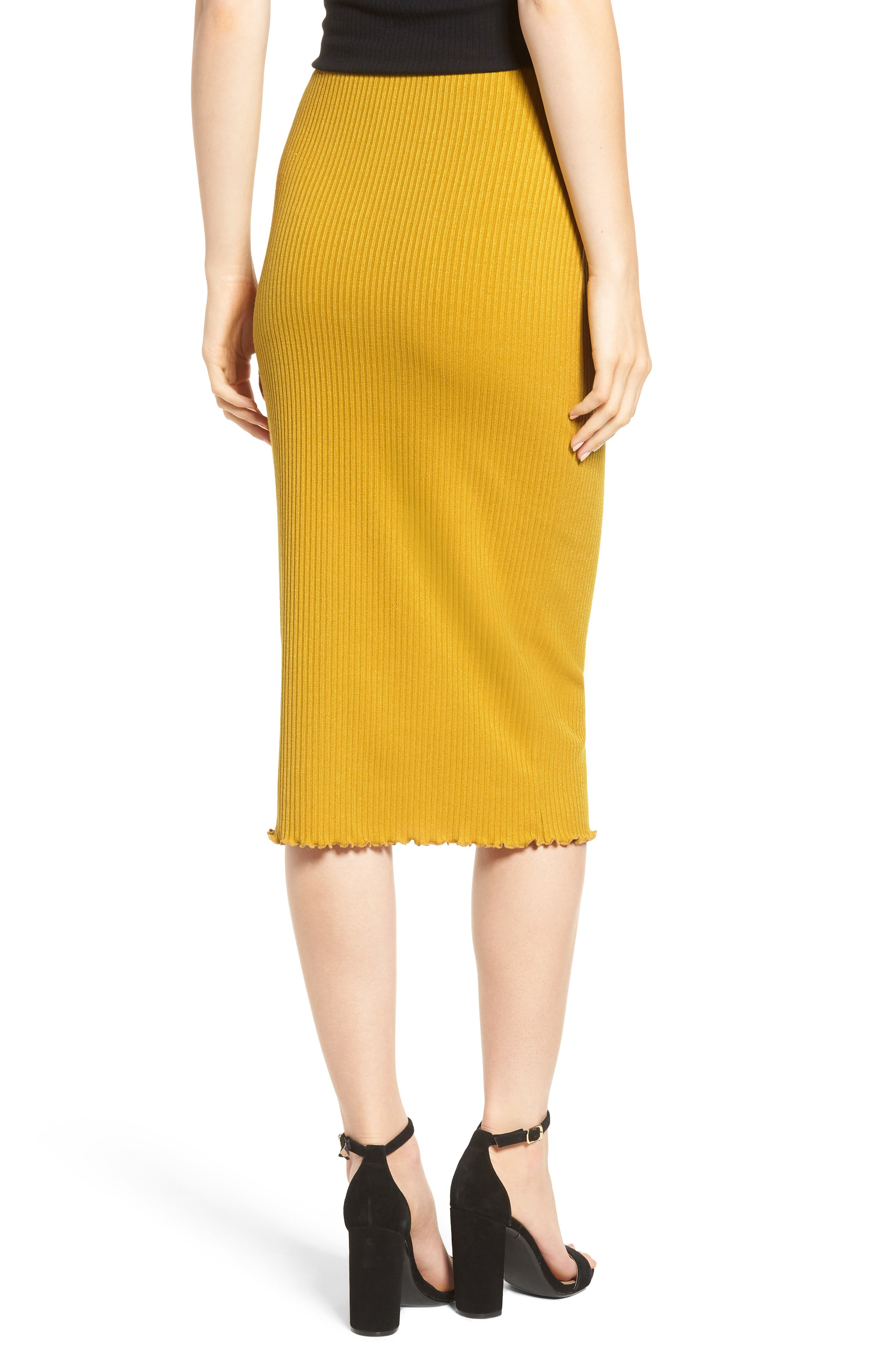 Rib Knit Pencil Skirt,                             Alternate thumbnail 2, color,
