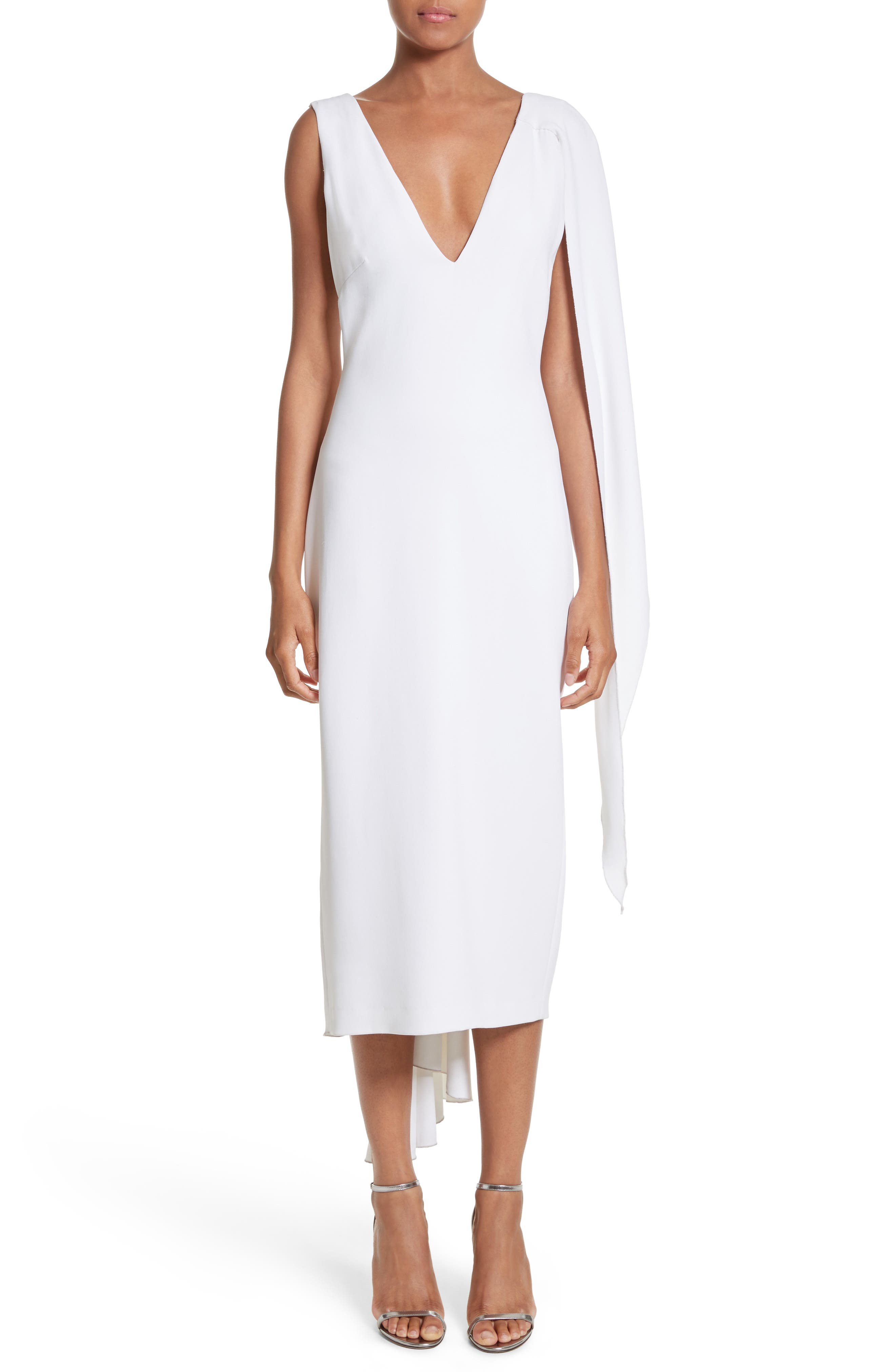 Leta Drape Dress,                         Main,                         color, WHITE