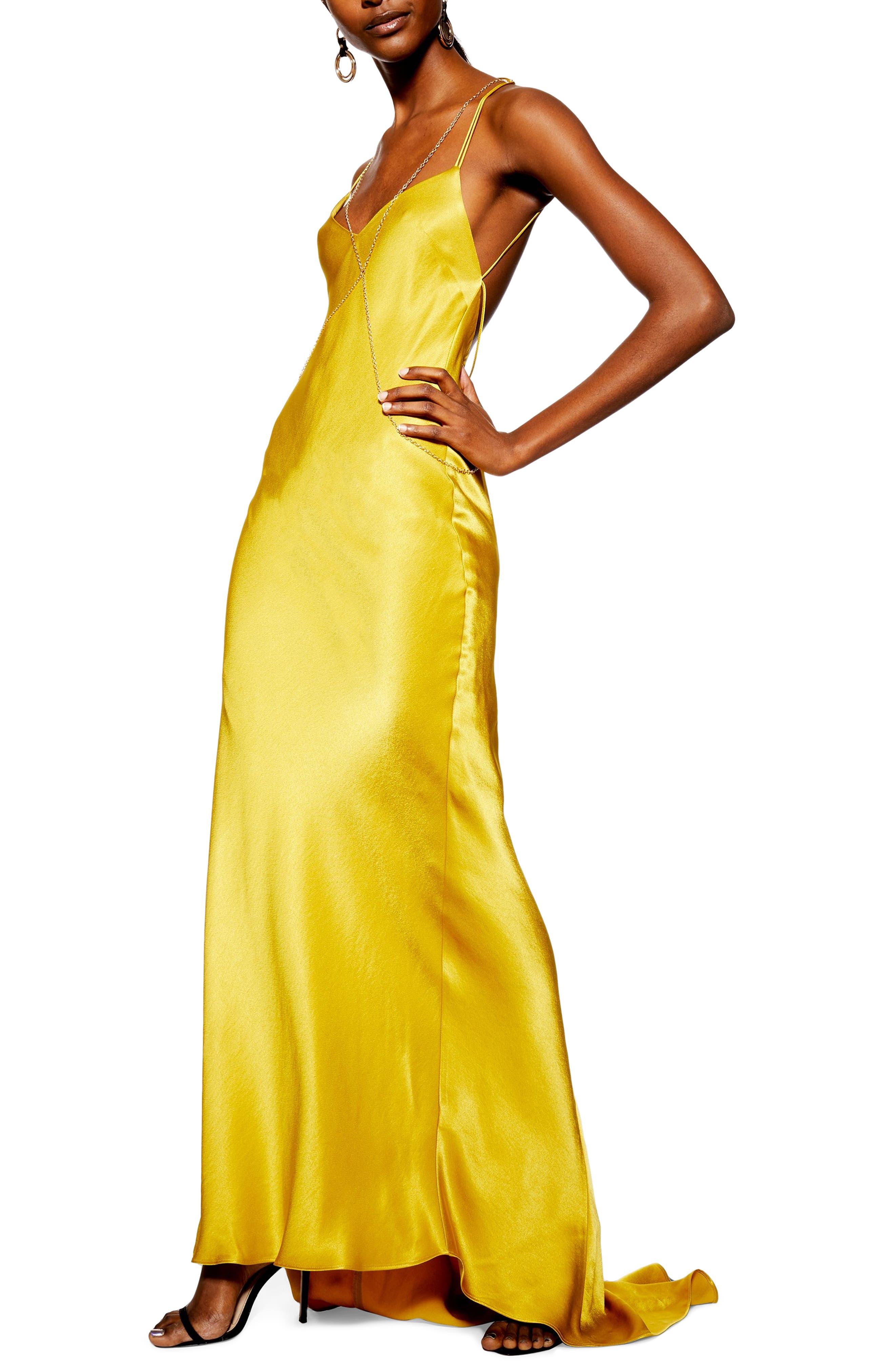 Topshop Chain Satin Maxi Dress, US (fits like 10-12) - Metallic