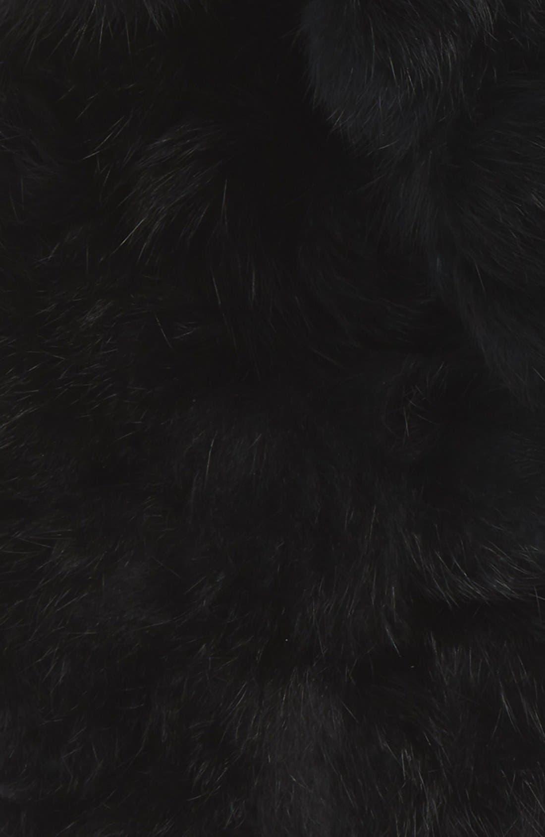 Genuine Rabbit Fur Scarf,                             Alternate thumbnail 2, color,                             BLACK