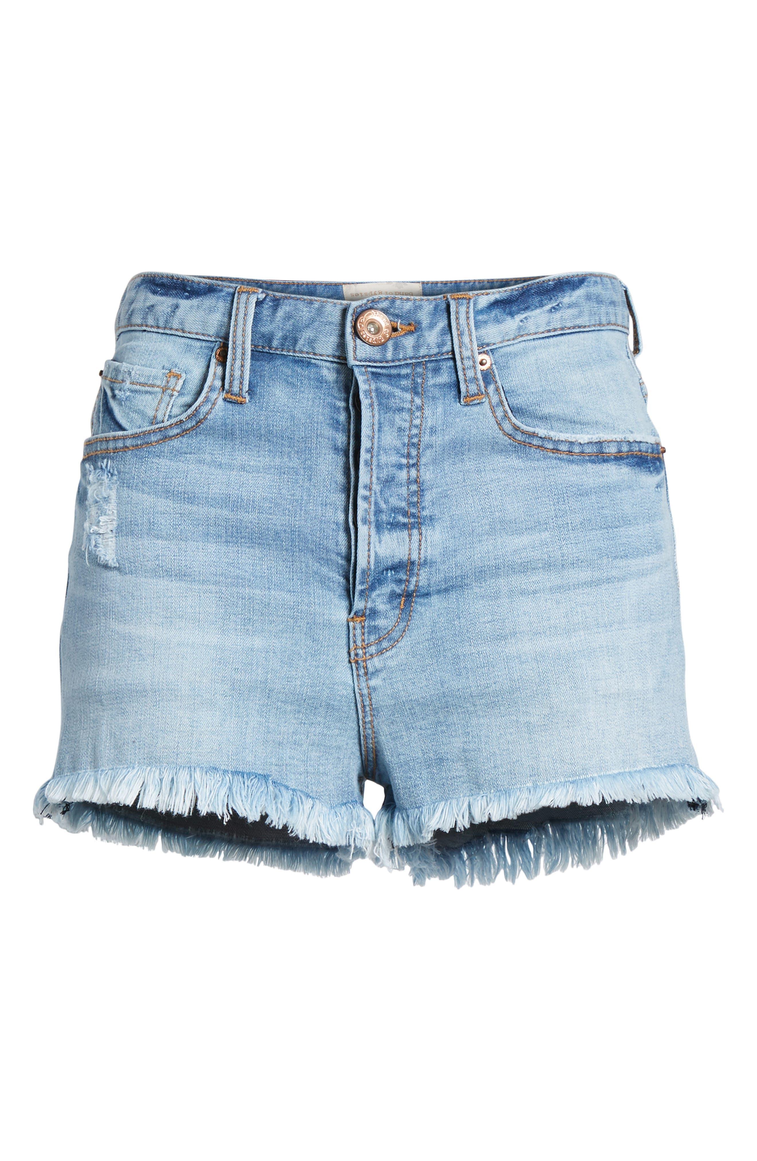 Zoey Denim Shorts,                             Alternate thumbnail 7, color,                             402