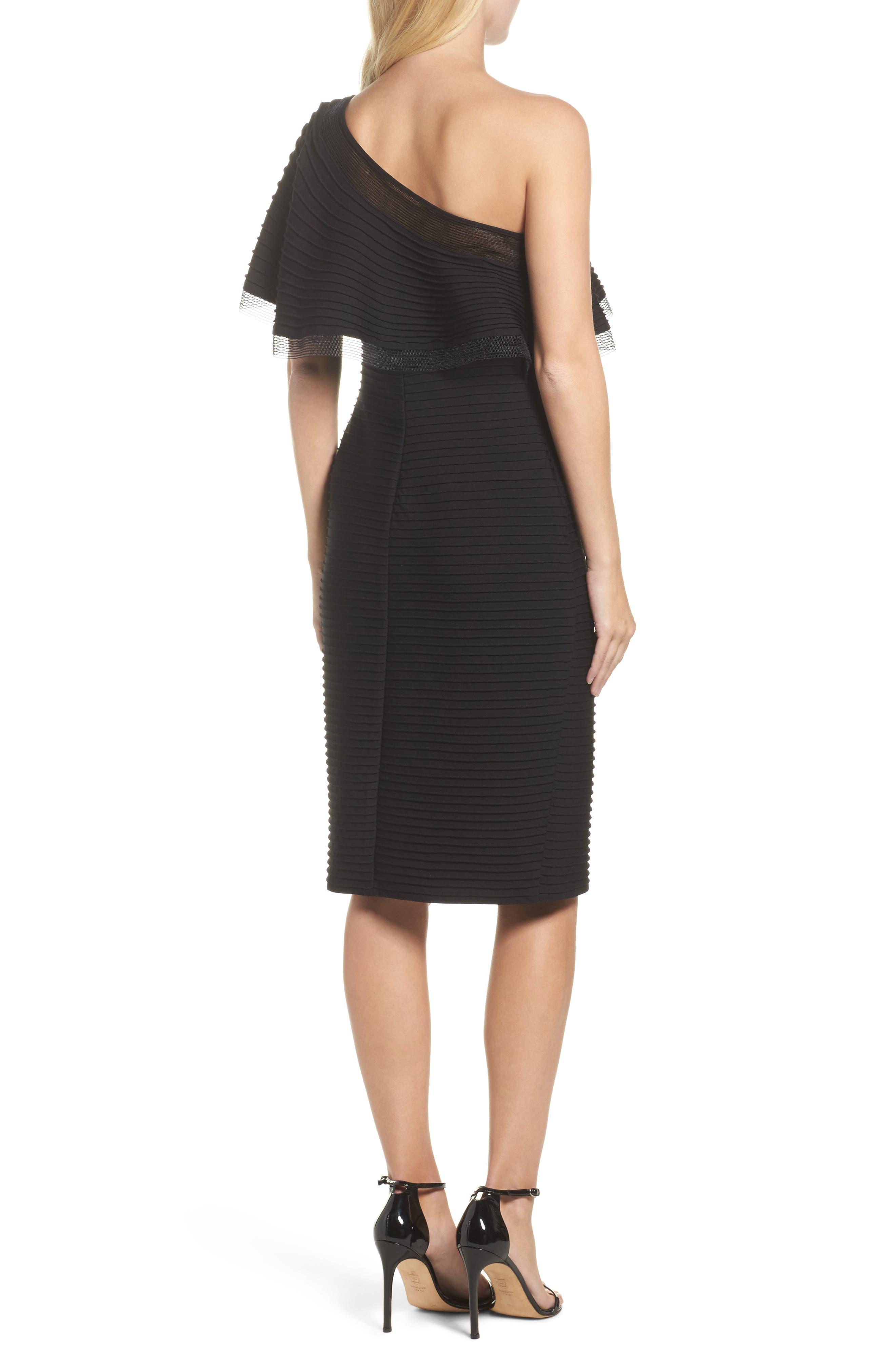 Pintuck One-Shoulder Dress,                             Alternate thumbnail 2, color,                             001