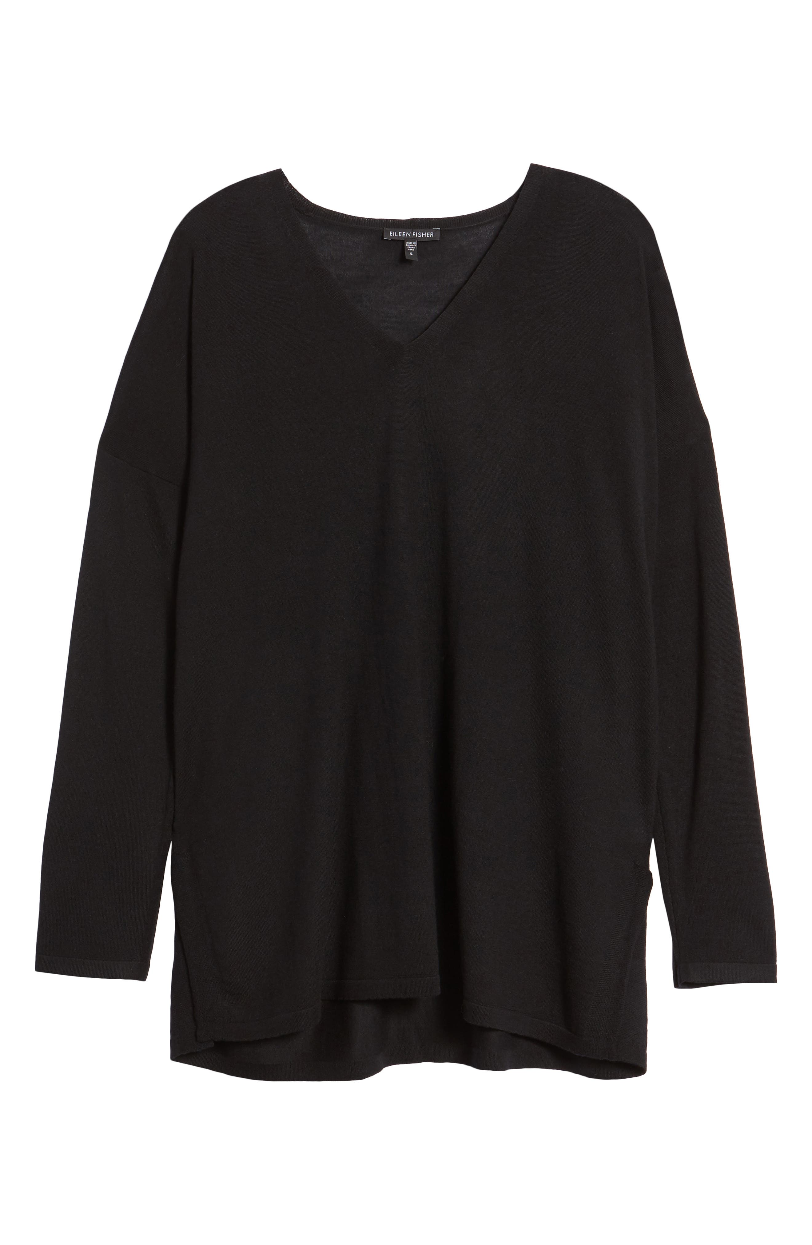 Merino Wool Tunic Sweater,                             Alternate thumbnail 6, color,                             001