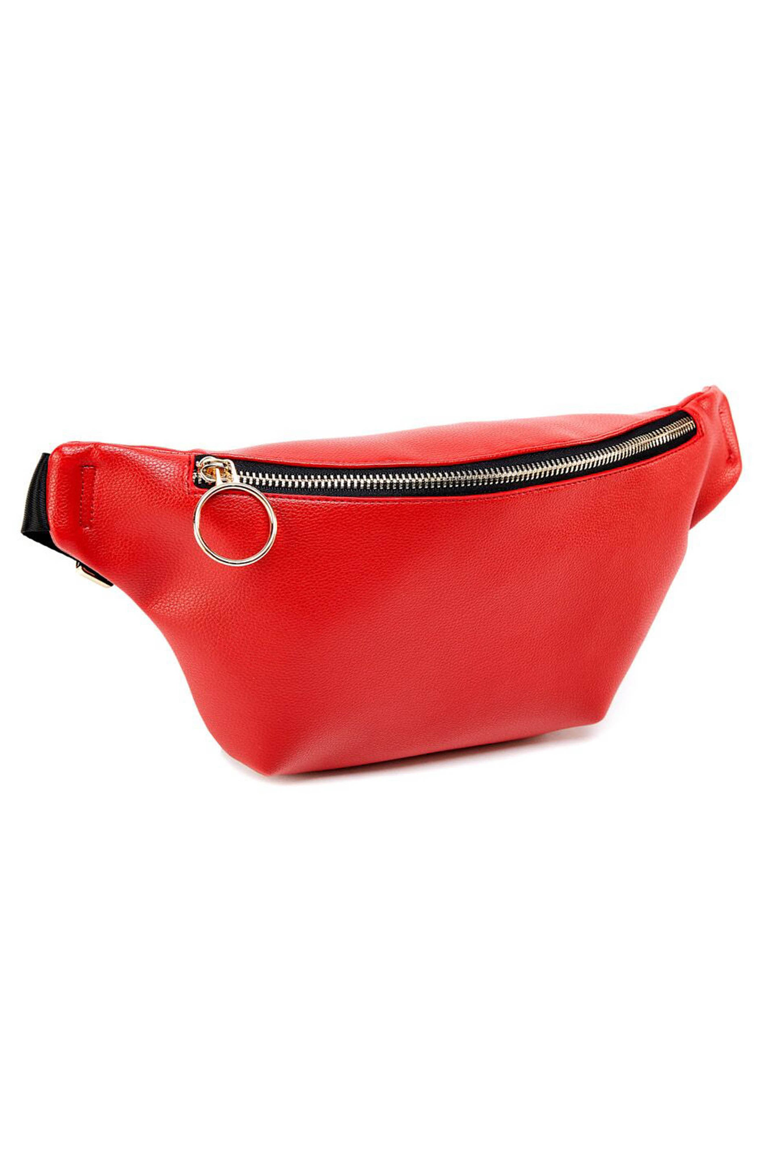 Faux Leather Belt Bag,                             Alternate thumbnail 3, color,                             RED