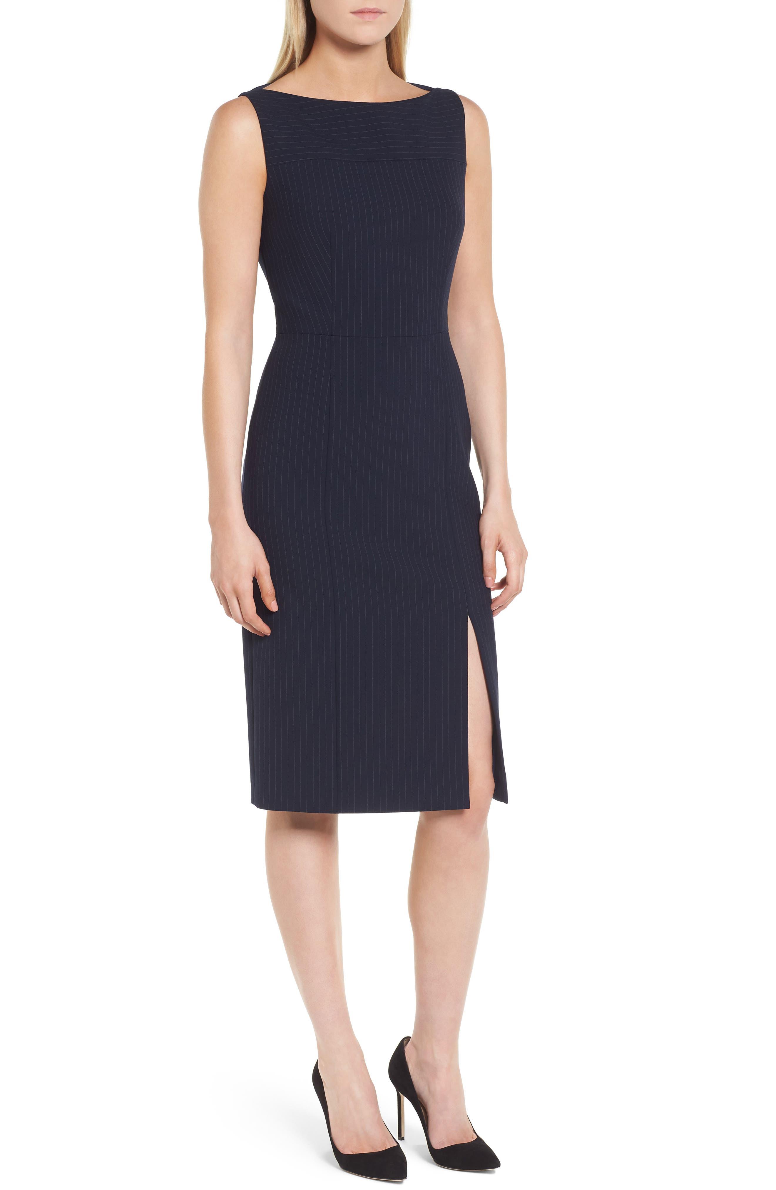 Denaka Pinstripe Sheath Dress,                             Main thumbnail 1, color,