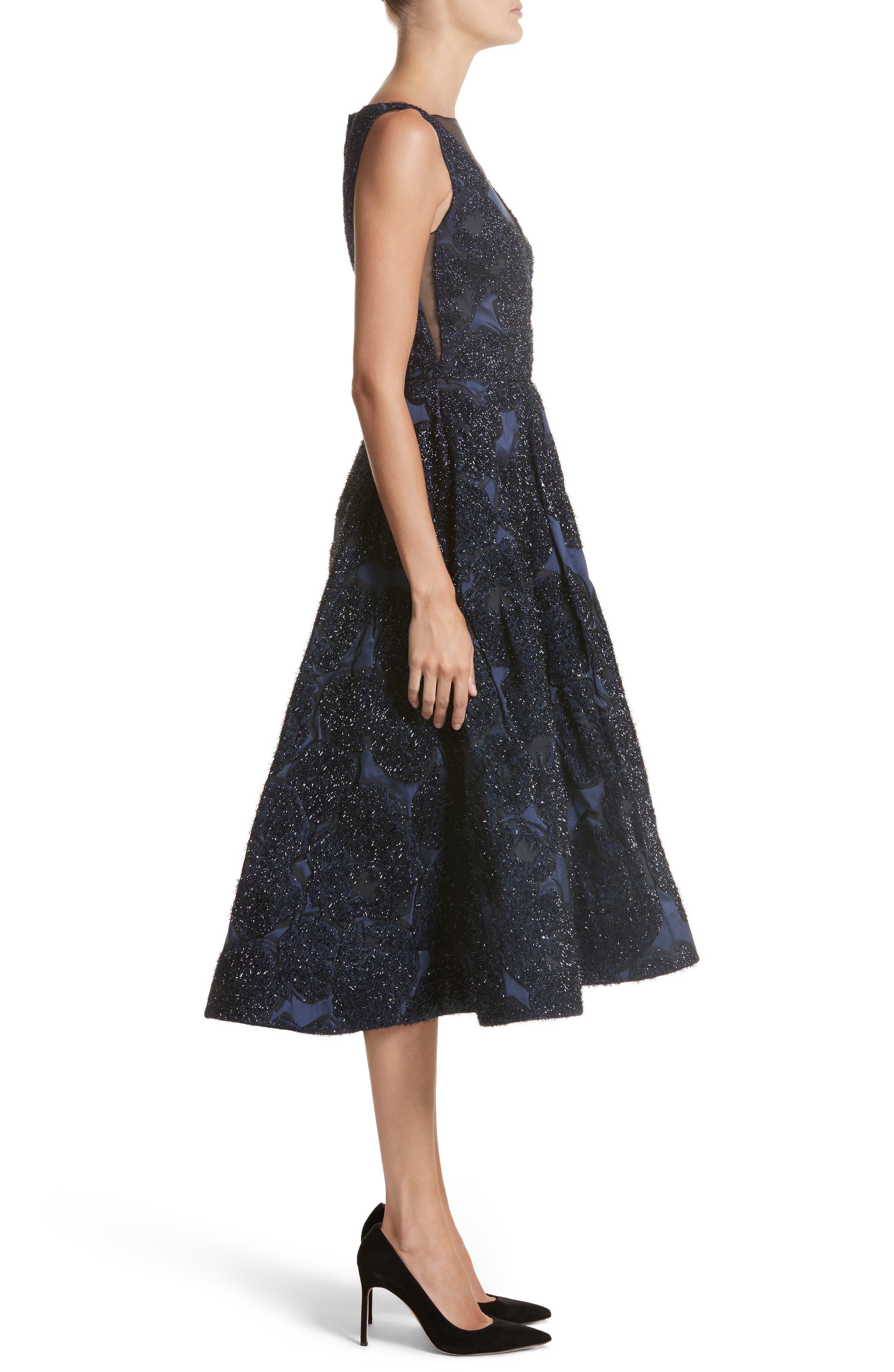 Metallic Jacquard Fit & Flare Dress,                             Alternate thumbnail 3, color,                             410