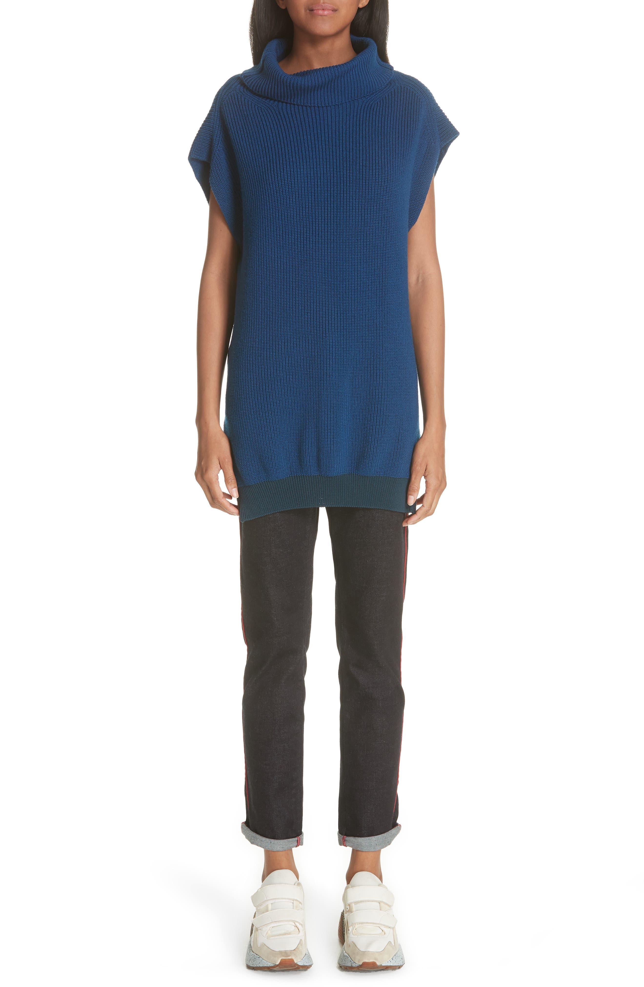 Wool Turtleneck Vest,                             Alternate thumbnail 7, color,                             SHADOW BLUE