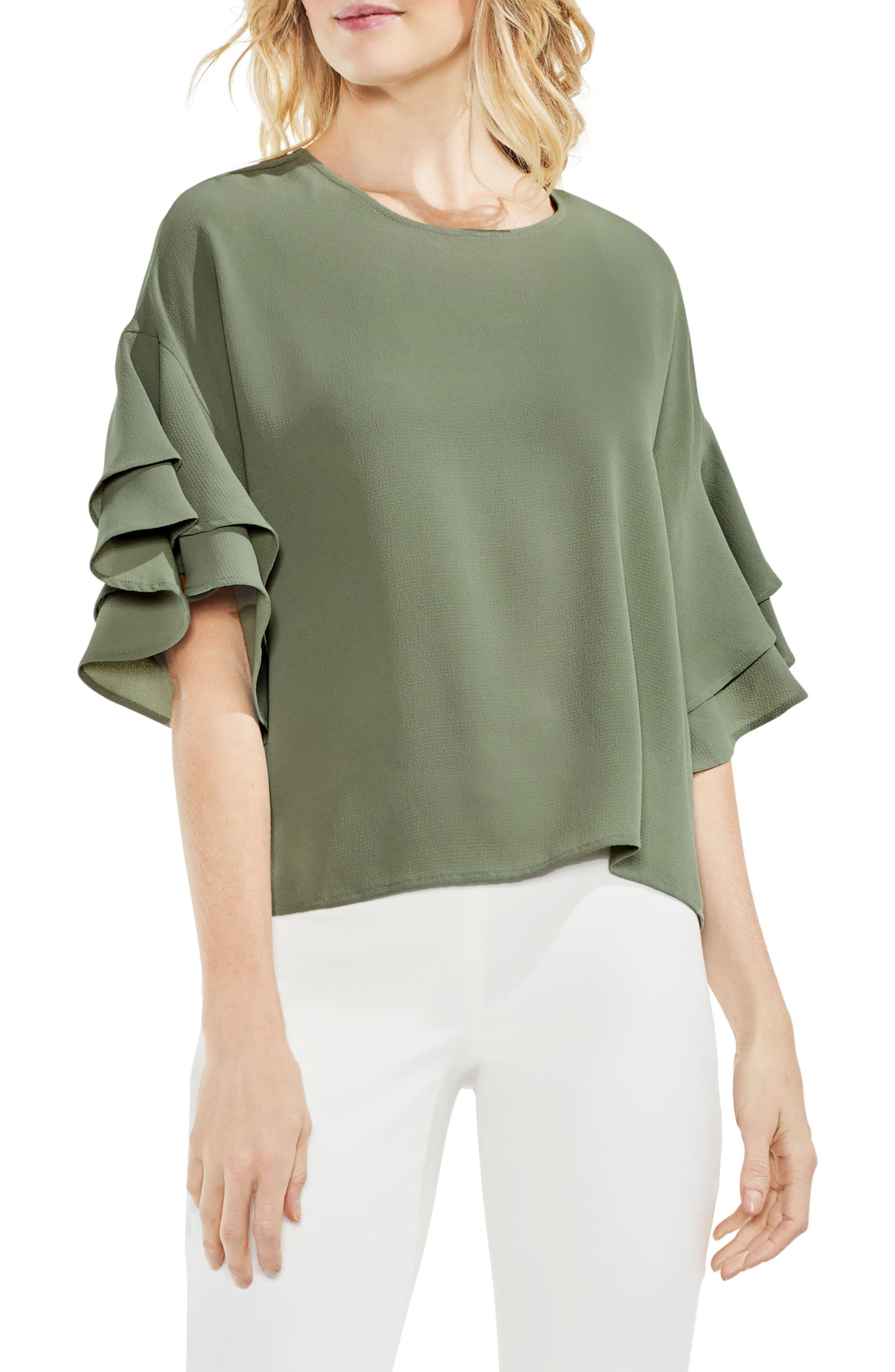 Drop Shoulder Ruffle Sleeve Blouse,                             Main thumbnail 1, color,                             335
