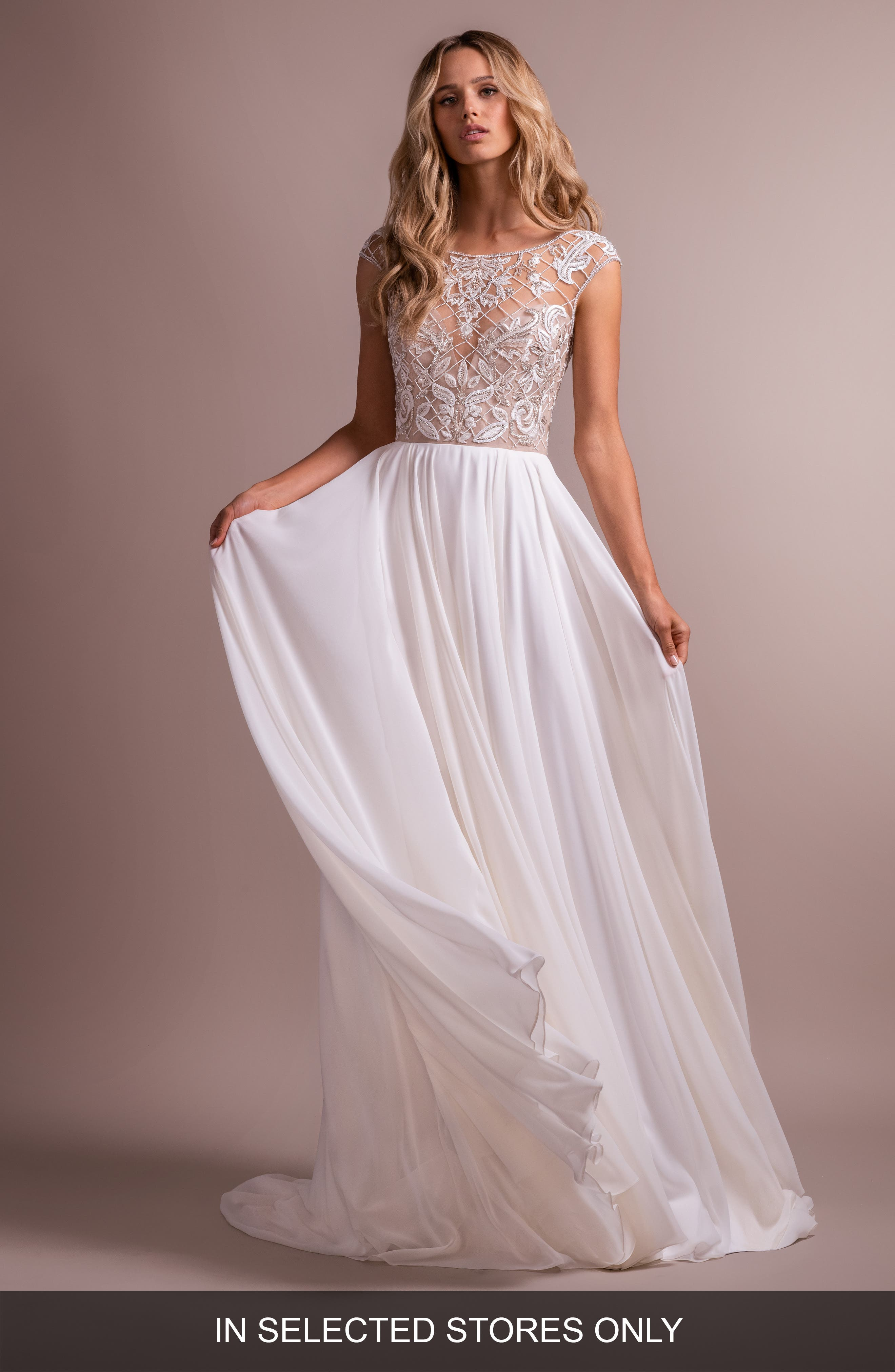 Hayley Paige Hemmingway Embroidered Crewneck Wedding Dress, Size IN STORE ONLY - Ivory