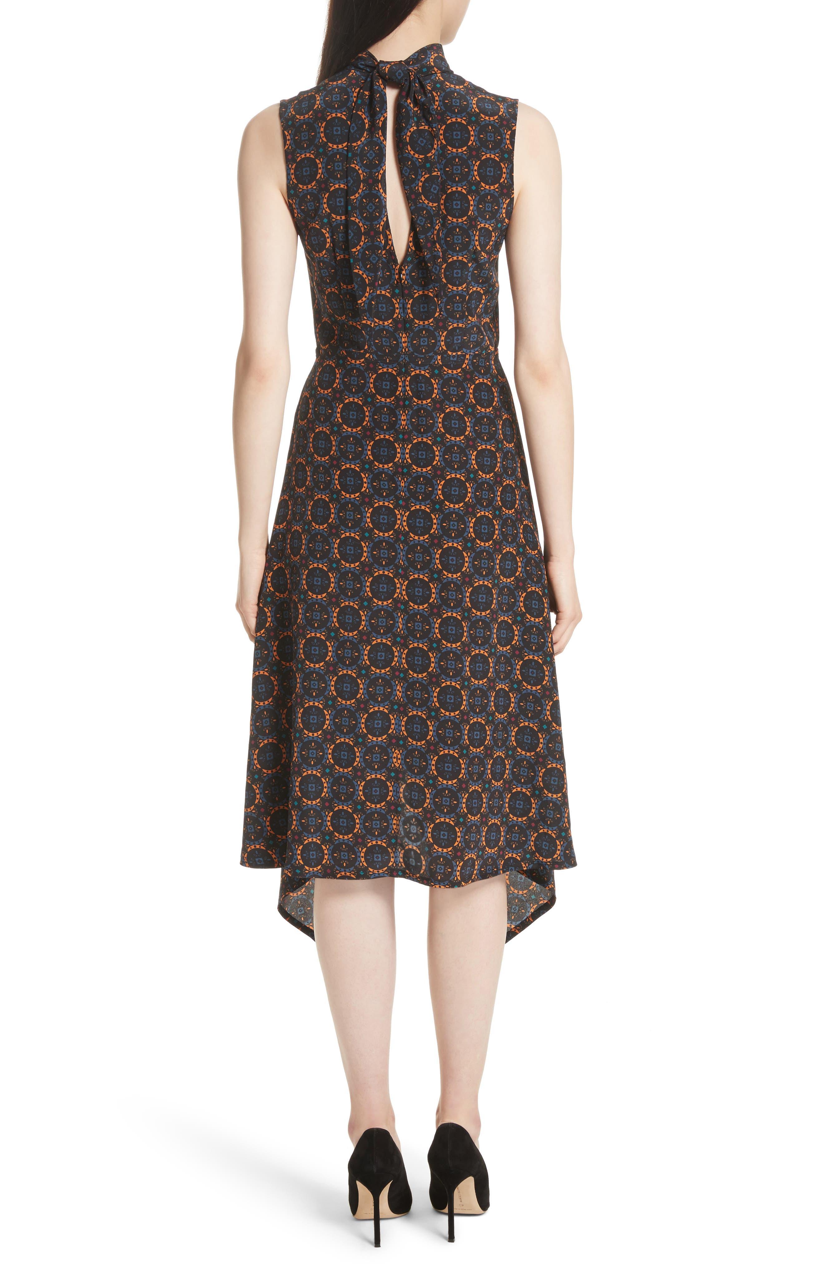 Kerchief A-Line Silk Dress,                             Alternate thumbnail 2, color,                             436