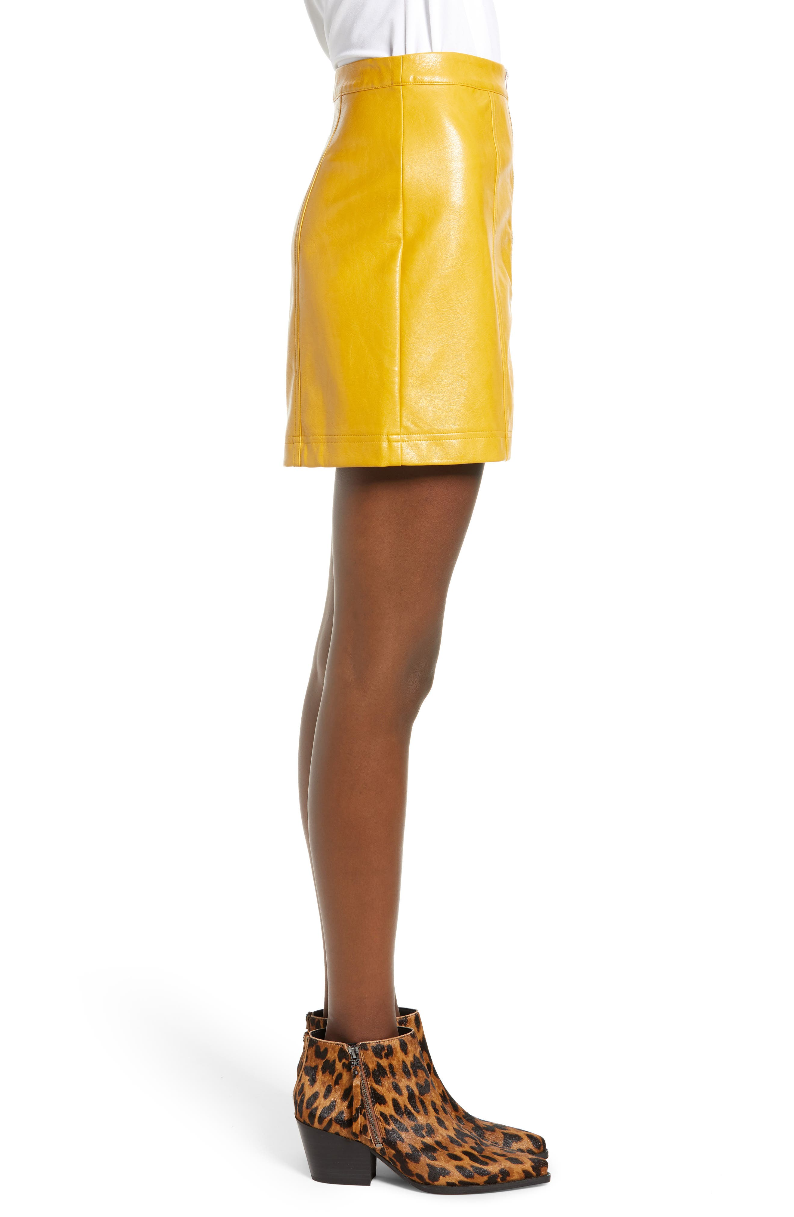 Zip Front Faux Leather Miniskirt,                             Alternate thumbnail 3, color,                             MUSTARD